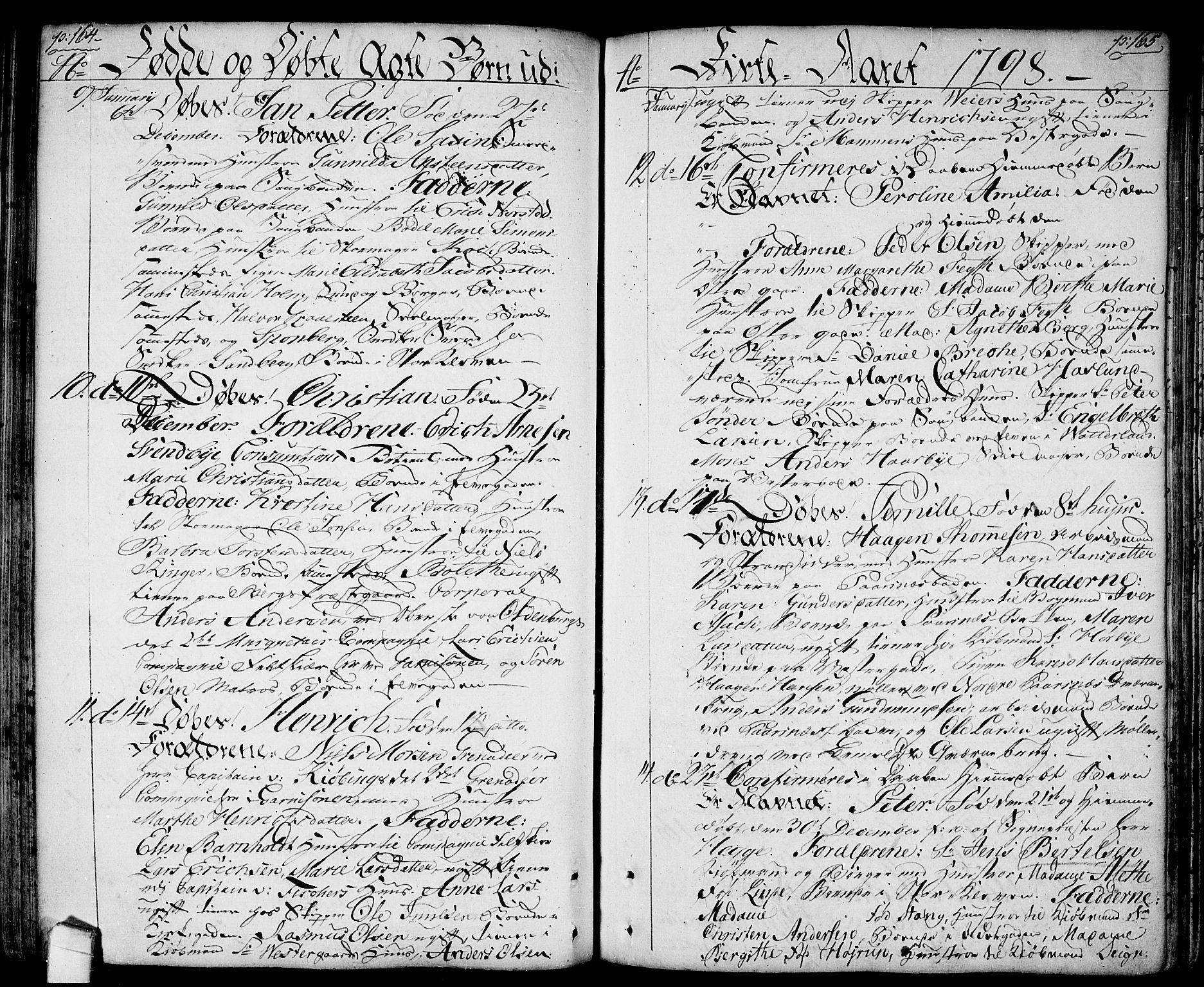 SAO, Halden prestekontor Kirkebøker, F/Fa/L0002: Ministerialbok nr. I 2, 1792-1812, s. 164-165