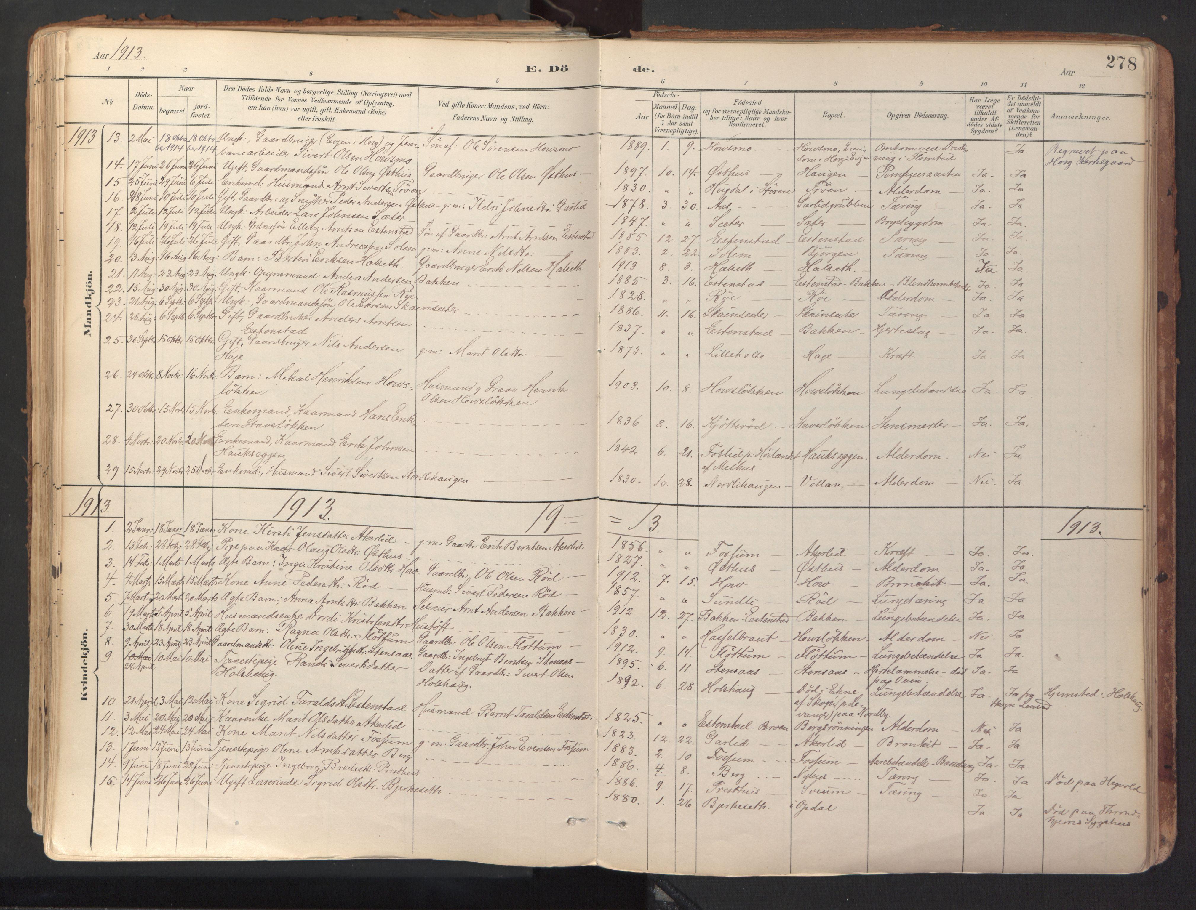 SAT, Ministerialprotokoller, klokkerbøker og fødselsregistre - Sør-Trøndelag, 689/L1041: Ministerialbok nr. 689A06, 1891-1923, s. 278