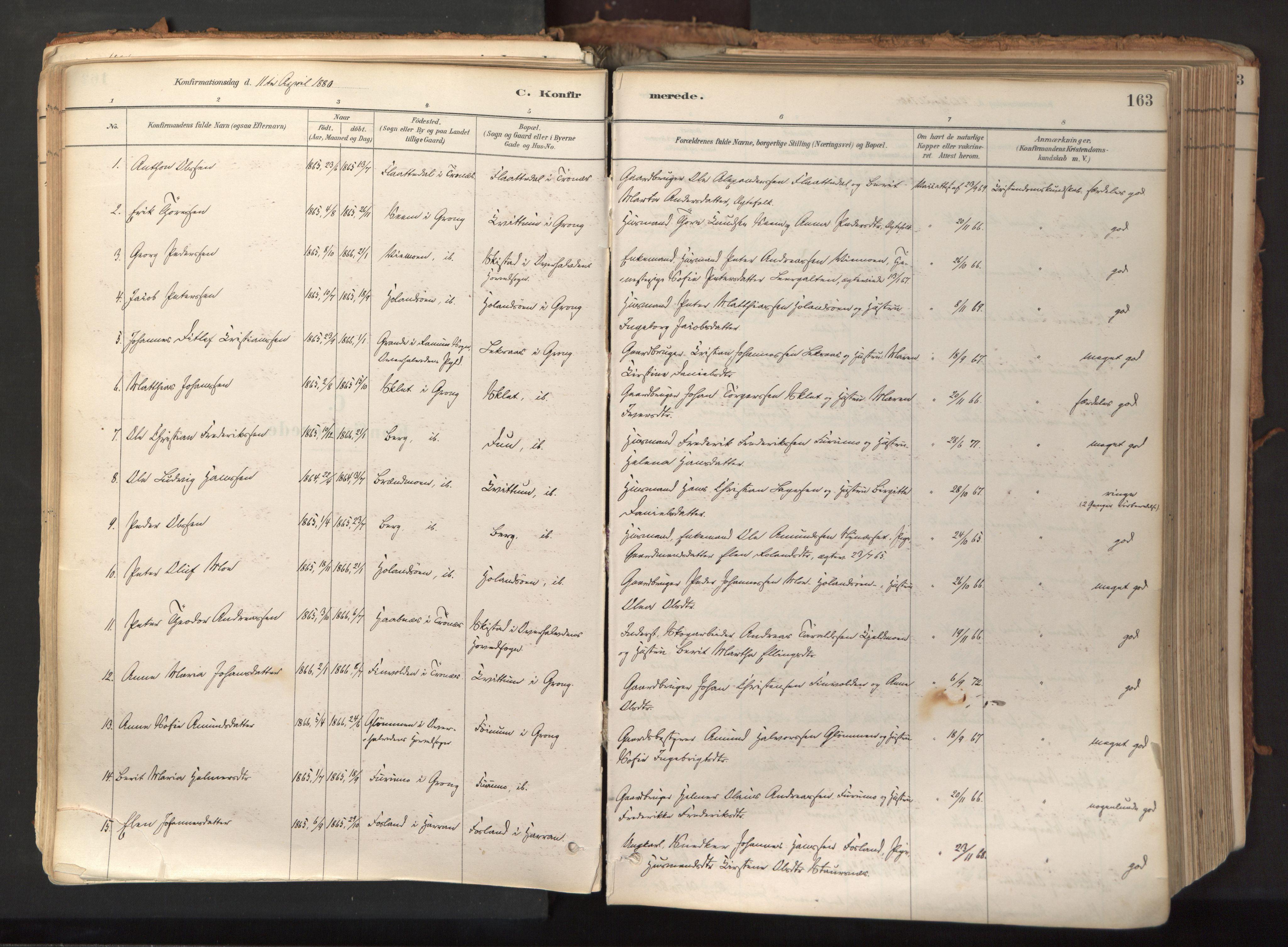 SAT, Ministerialprotokoller, klokkerbøker og fødselsregistre - Nord-Trøndelag, 758/L0519: Ministerialbok nr. 758A04, 1880-1926, s. 163