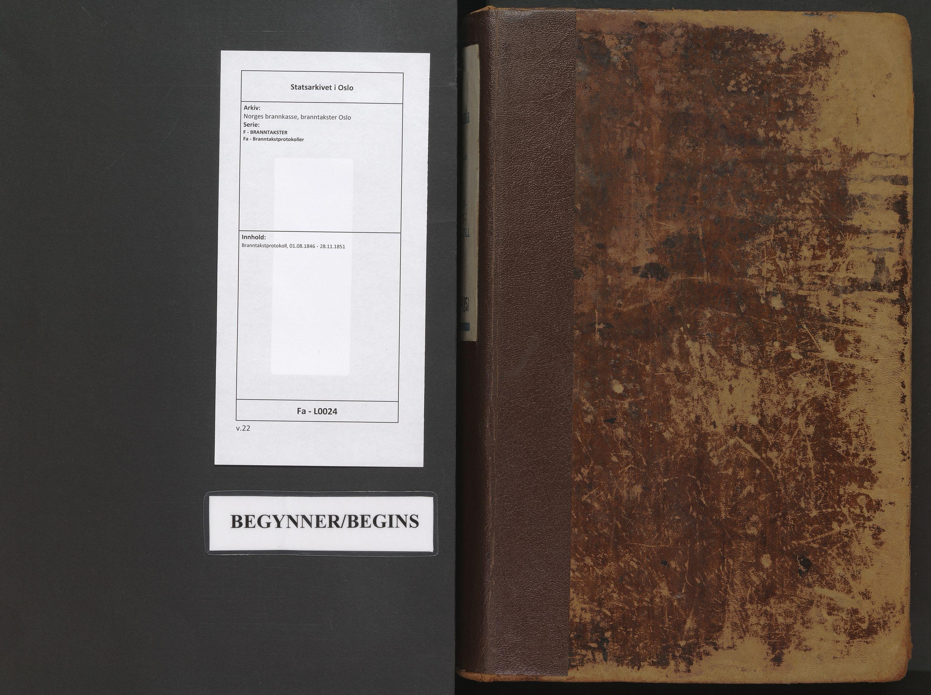 SAO, Norges brannkasse, branntakster Oslo, F/Fa/L0024: Branntakstprotokoll, 1846-1851