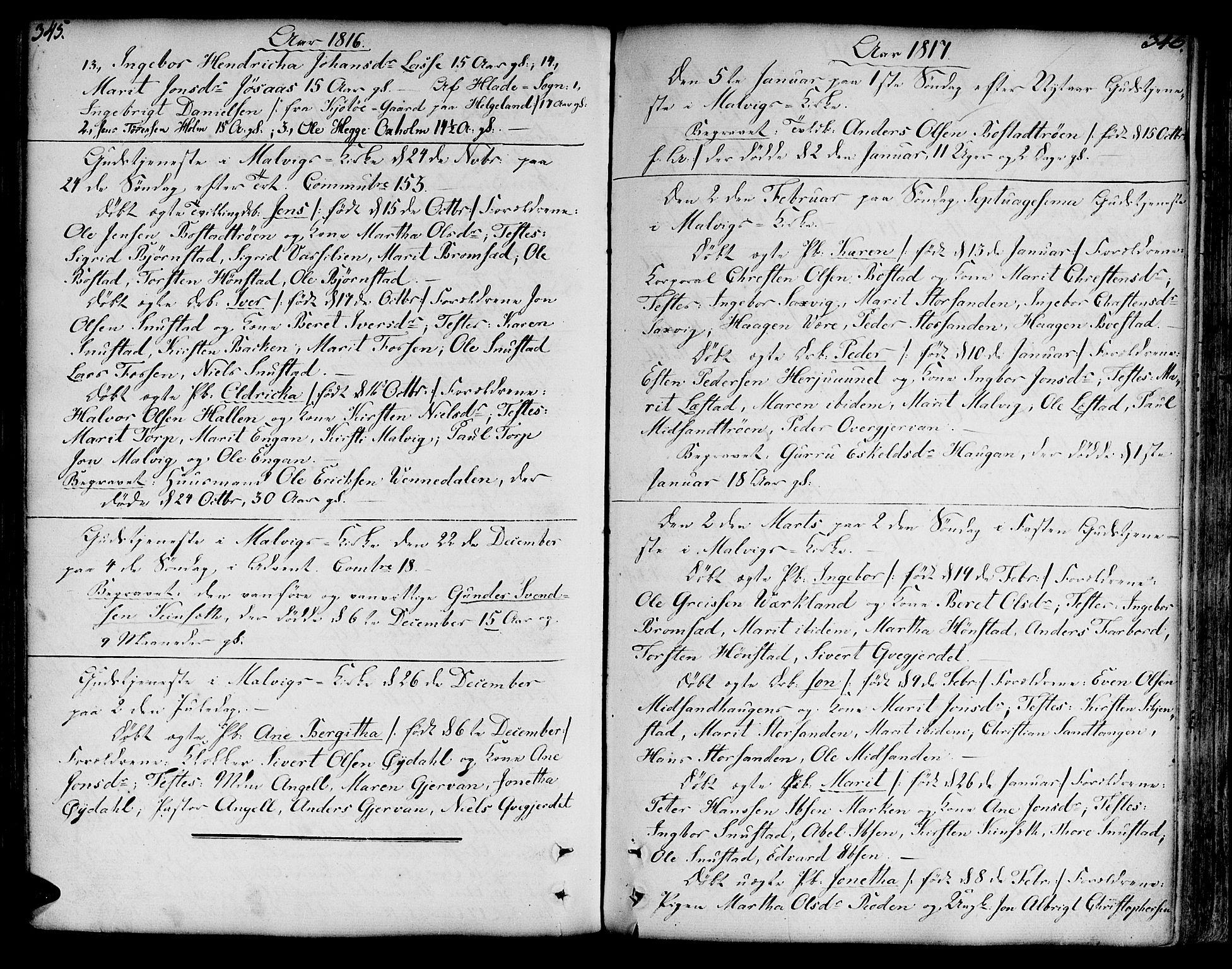 SAT, Ministerialprotokoller, klokkerbøker og fødselsregistre - Sør-Trøndelag, 606/L0281: Ministerialbok nr. 606A02 /2, 1781-1817, s. 345-346