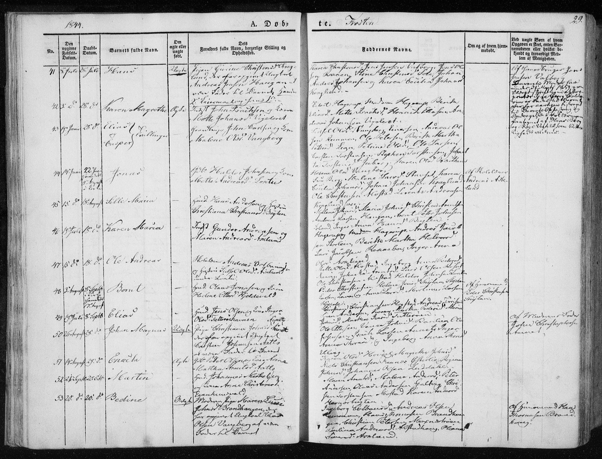 SAT, Ministerialprotokoller, klokkerbøker og fødselsregistre - Nord-Trøndelag, 713/L0115: Ministerialbok nr. 713A06, 1838-1851, s. 29