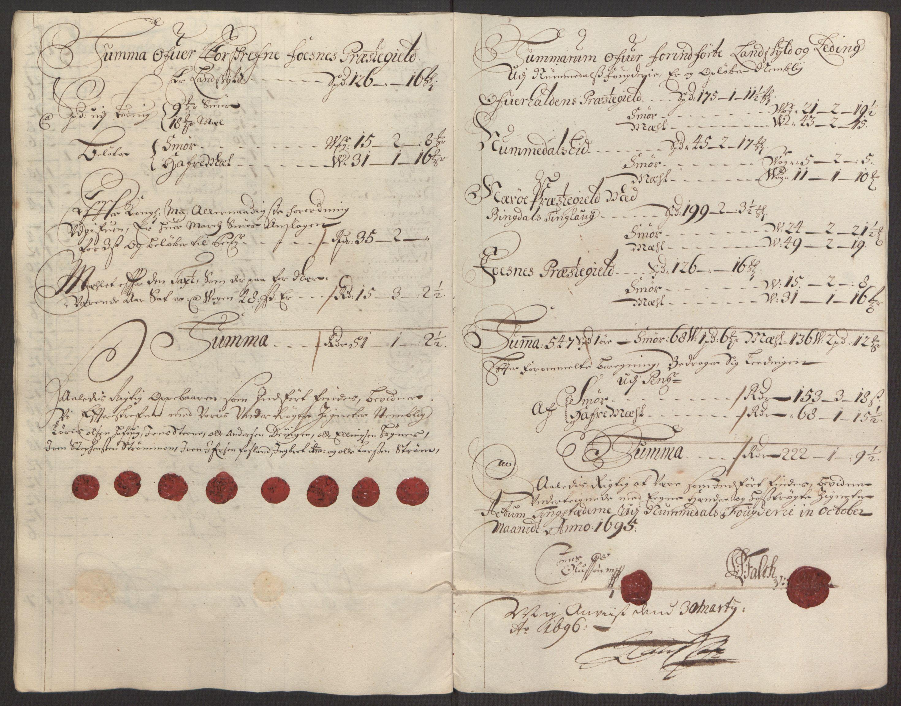 RA, Rentekammeret inntil 1814, Reviderte regnskaper, Fogderegnskap, R64/L4424: Fogderegnskap Namdal, 1692-1695, s. 505