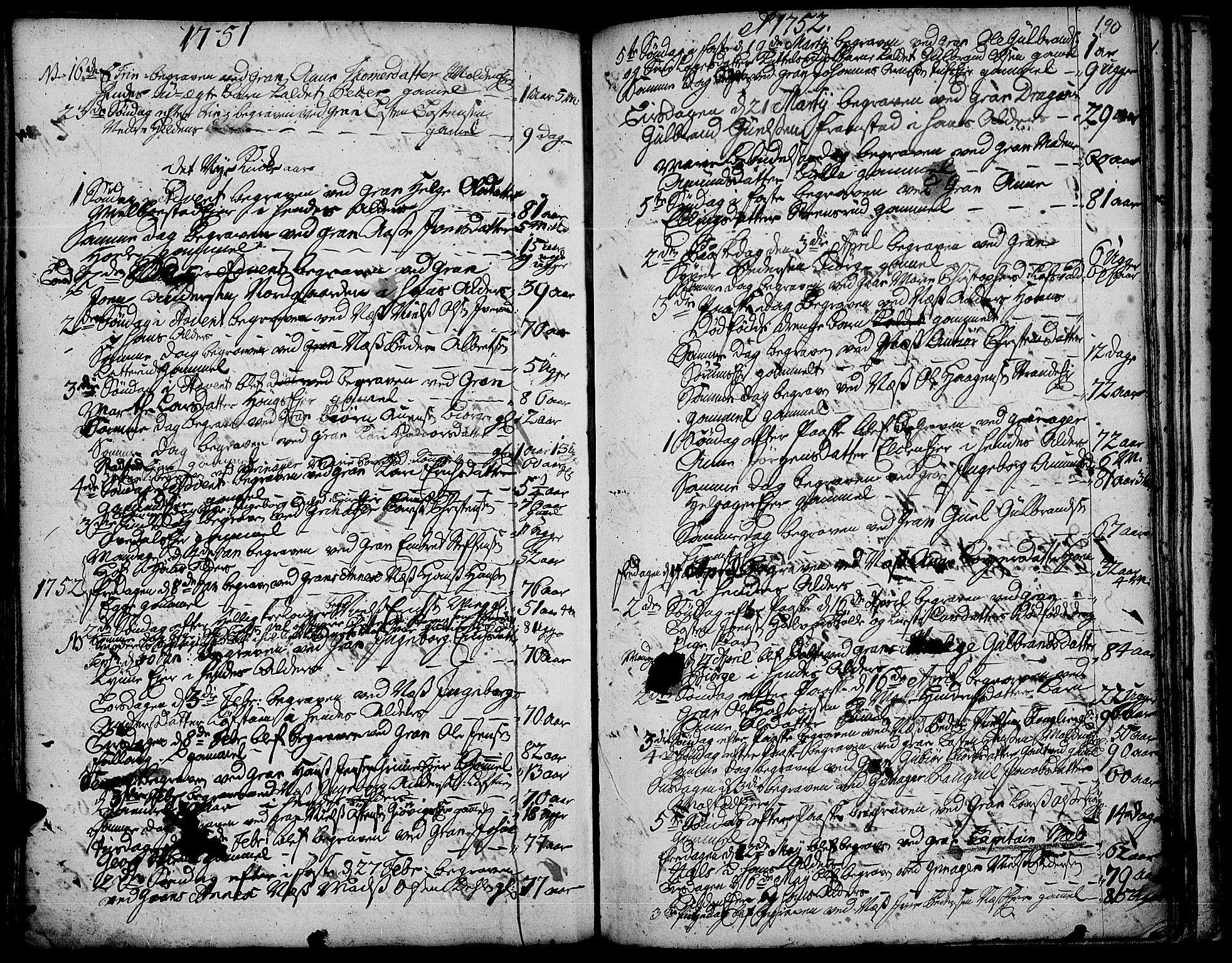 SAH, Gran prestekontor, Ministerialbok nr. 3, 1745-1758, s. 190