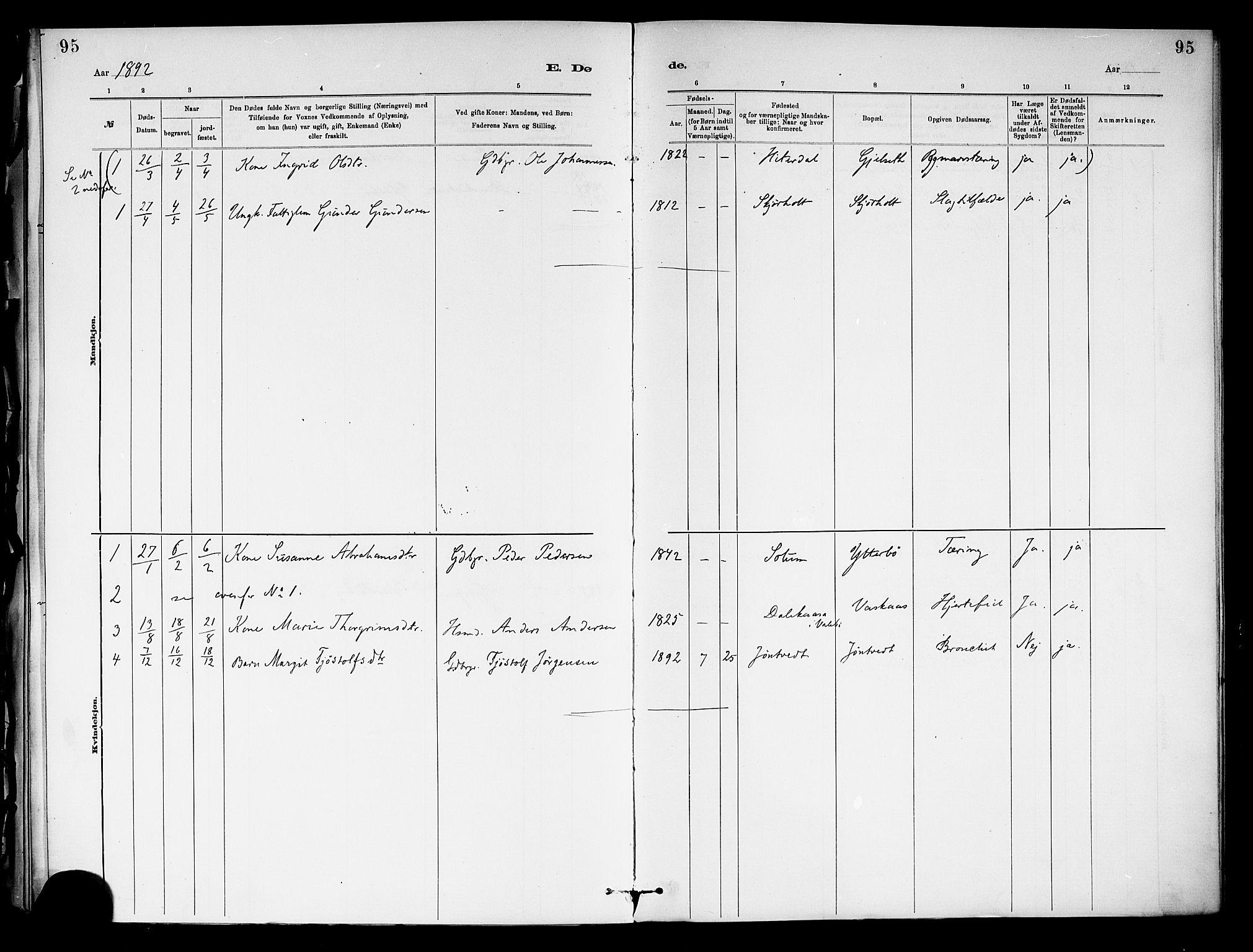 SAKO, Holla kirkebøker, F/Fa/L0009: Ministerialbok nr. 9, 1881-1897, s. 95