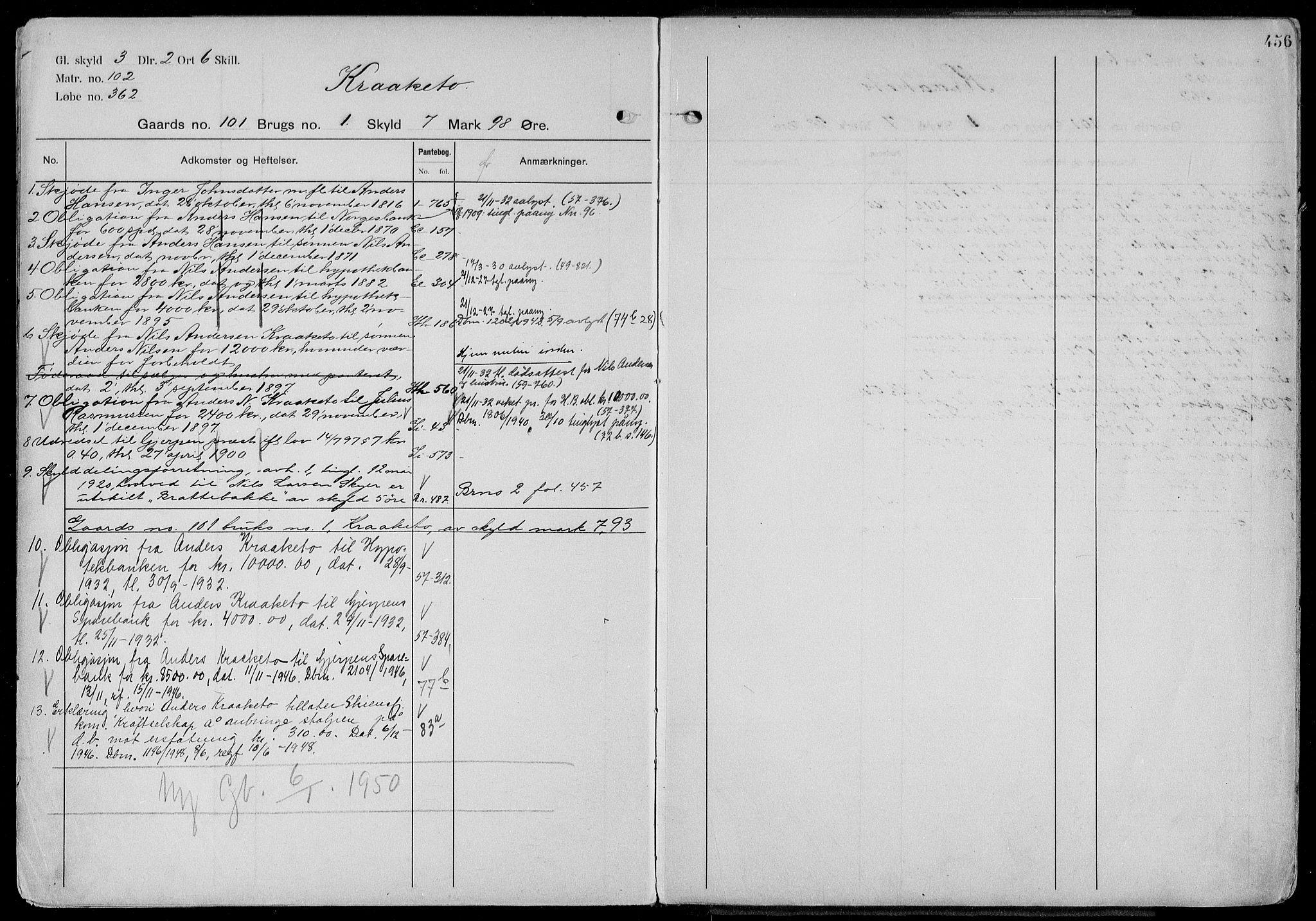 SAKO, Gjerpen sorenskriveri, G/Gb/Gbd/L0003: Panteregister nr. IV 3, s. 456