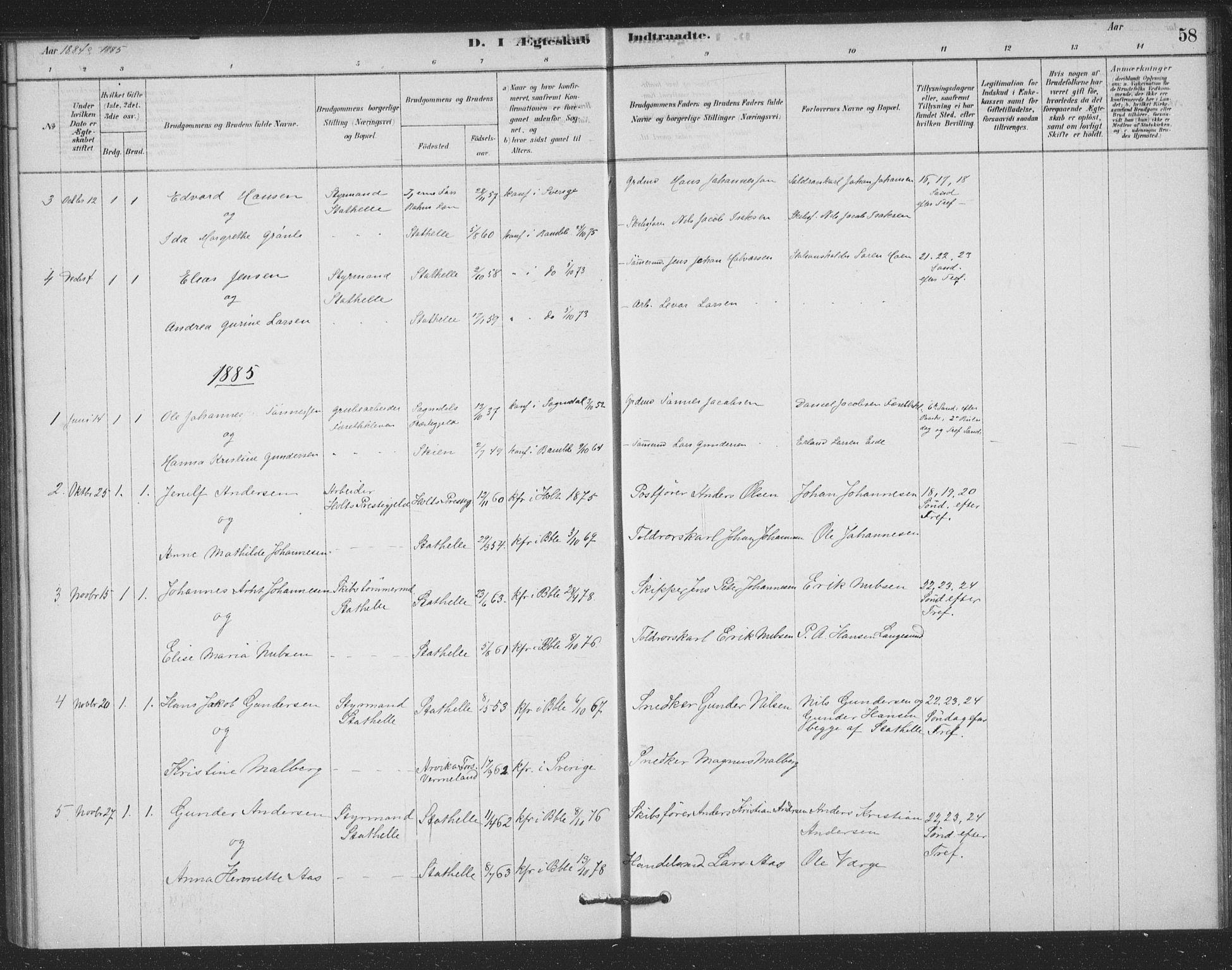 SAKO, Bamble kirkebøker, F/Fb/L0001: Ministerialbok nr. II 1, 1878-1899, s. 58