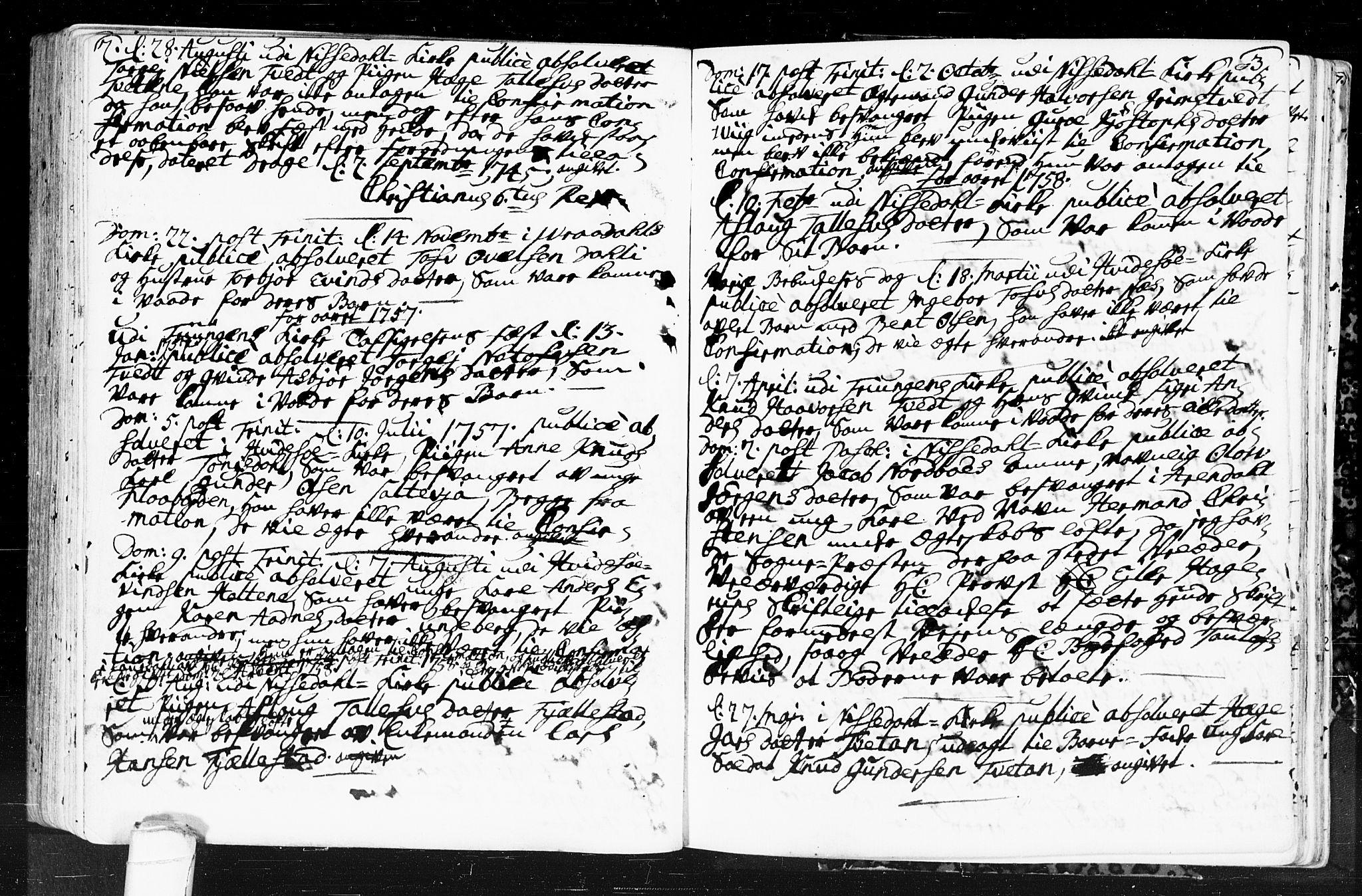 SAKO, Kviteseid kirkebøker, F/Fa/L0001: Ministerialbok nr. I 1, 1754-1773, s. 2-3