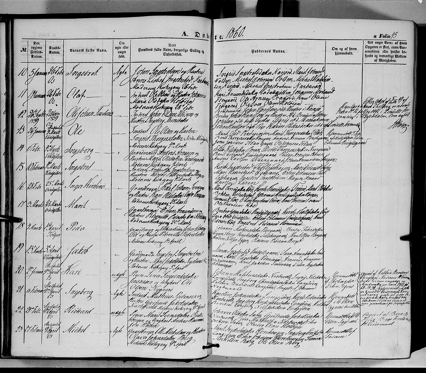 SAH, Tolga prestekontor, K/L0006: Ministerialbok nr. 6, 1852-1876, s. 45