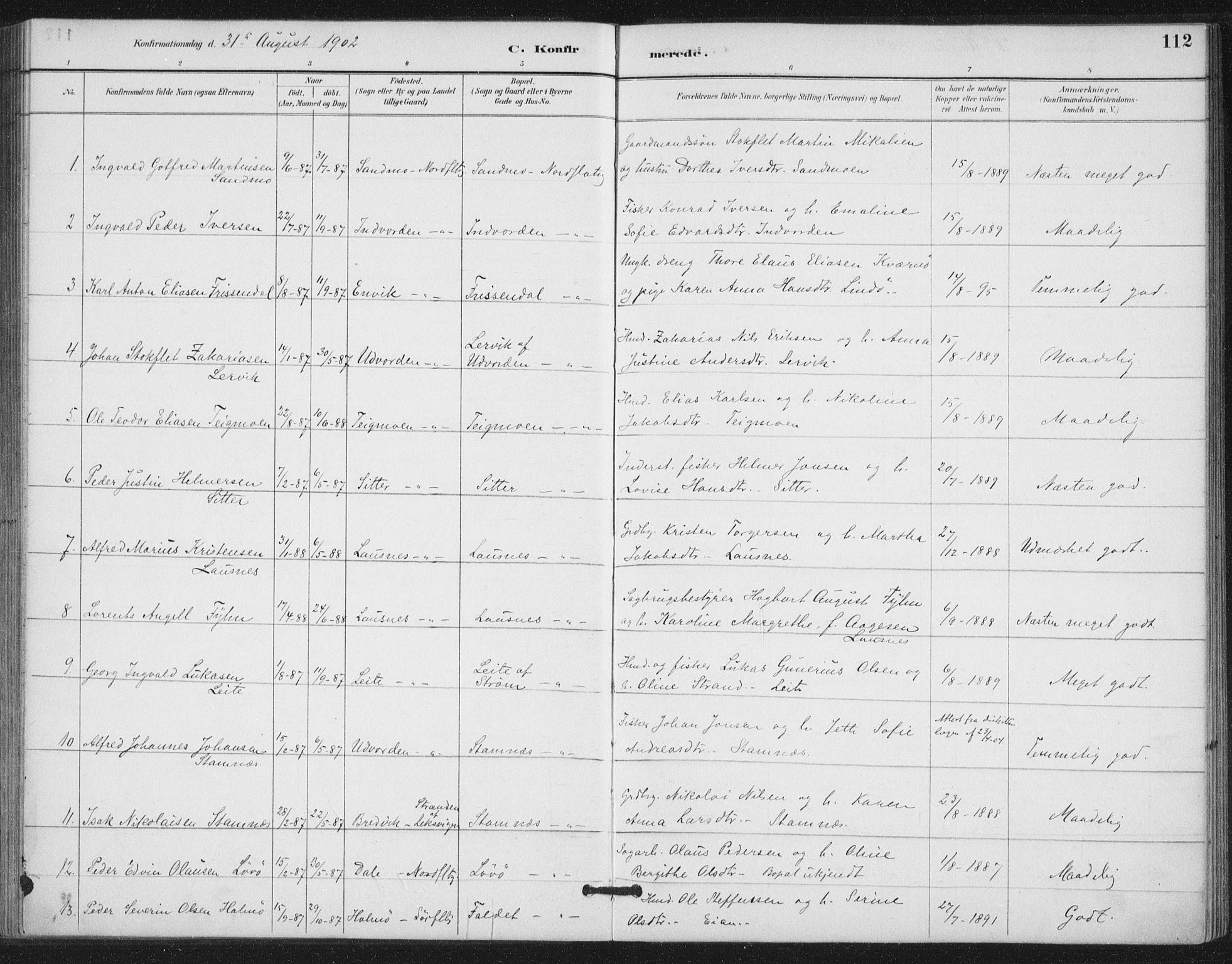 SAT, Ministerialprotokoller, klokkerbøker og fødselsregistre - Nord-Trøndelag, 772/L0603: Ministerialbok nr. 772A01, 1885-1912, s. 112