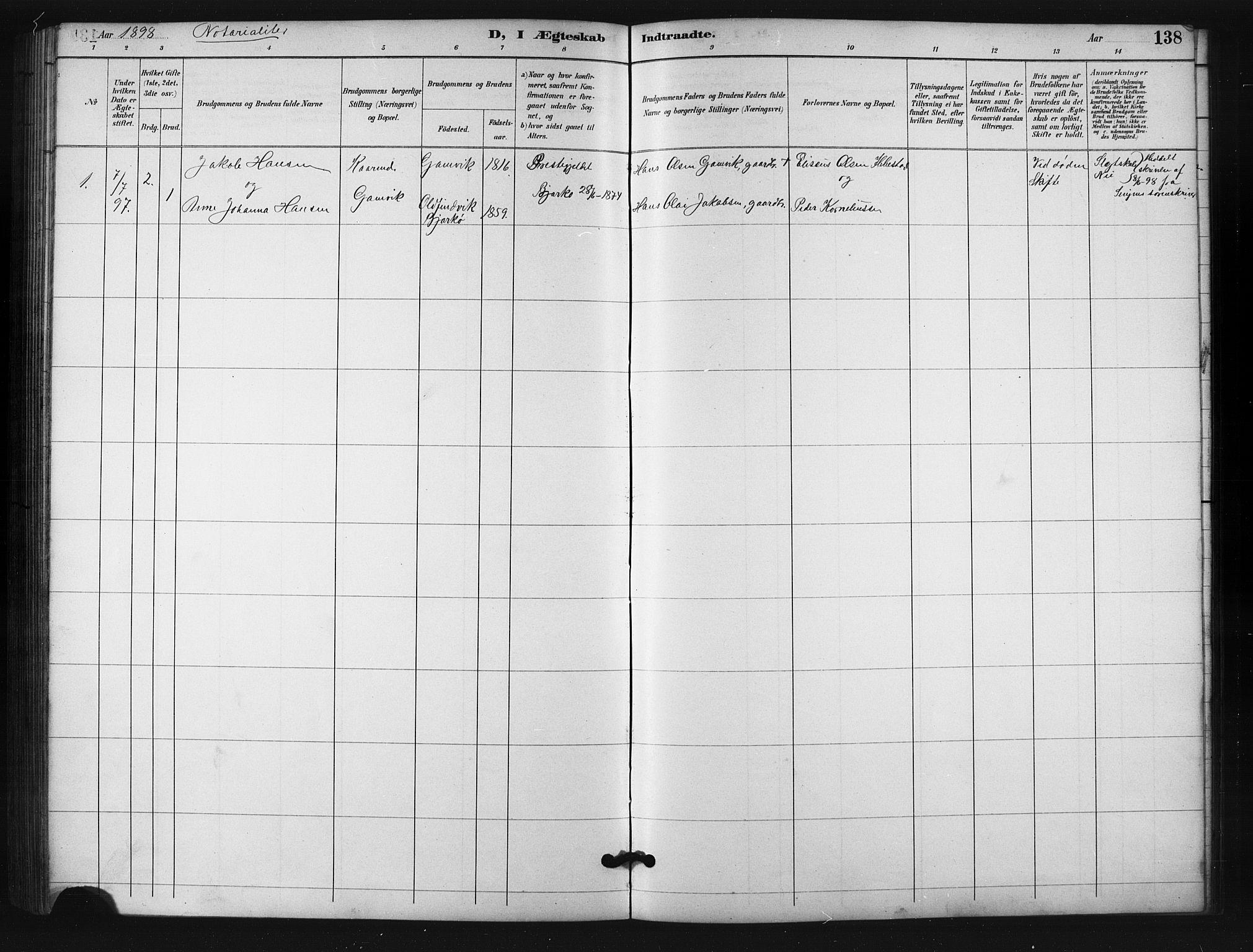 SATØ, Salangen sokneprestembete, H/Ha/L0001klokker: Klokkerbok nr. 1, 1893-1910, s. 138