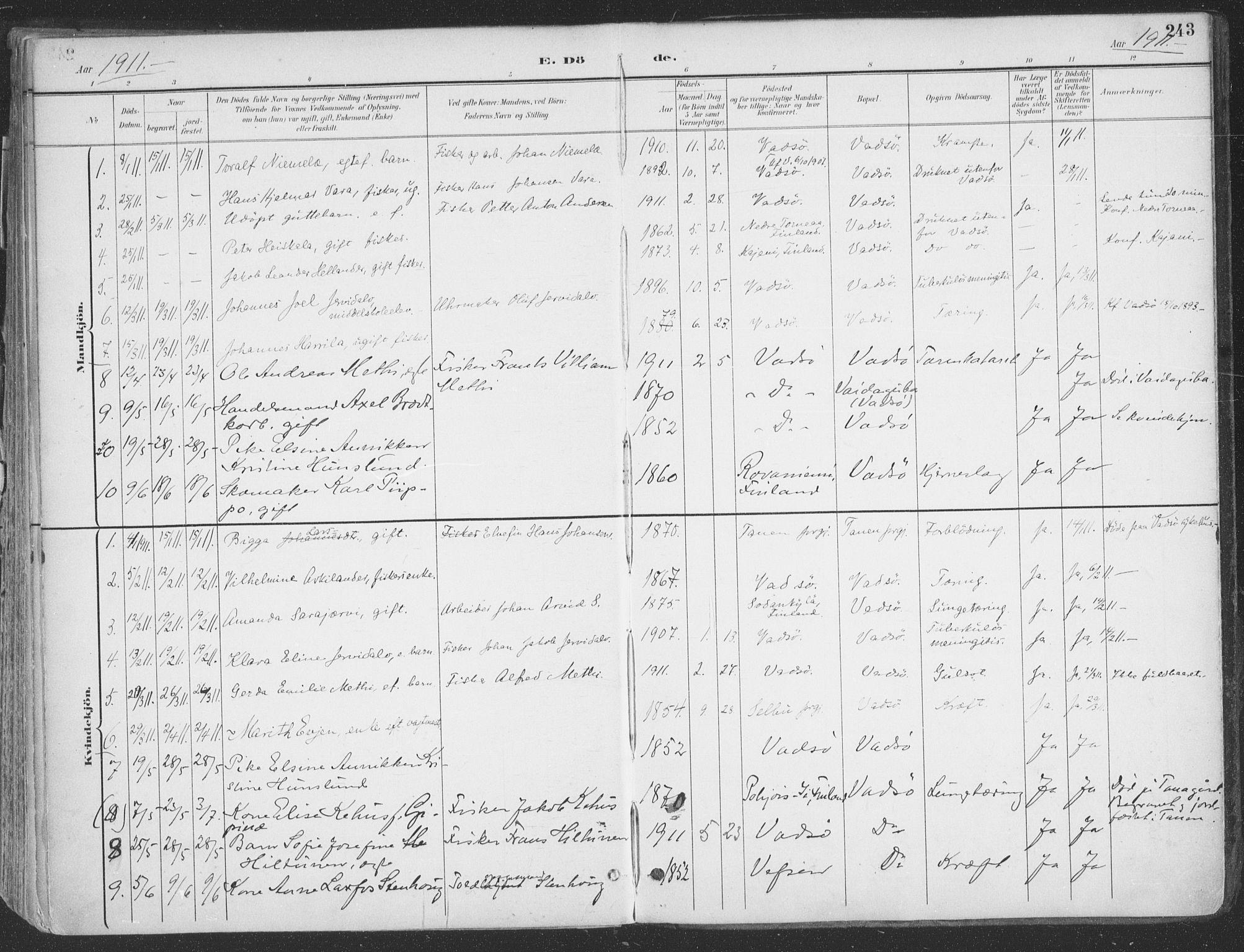 SATØ, Vadsø sokneprestkontor, H/Ha/L0007kirke: Ministerialbok nr. 7, 1896-1916, s. 243