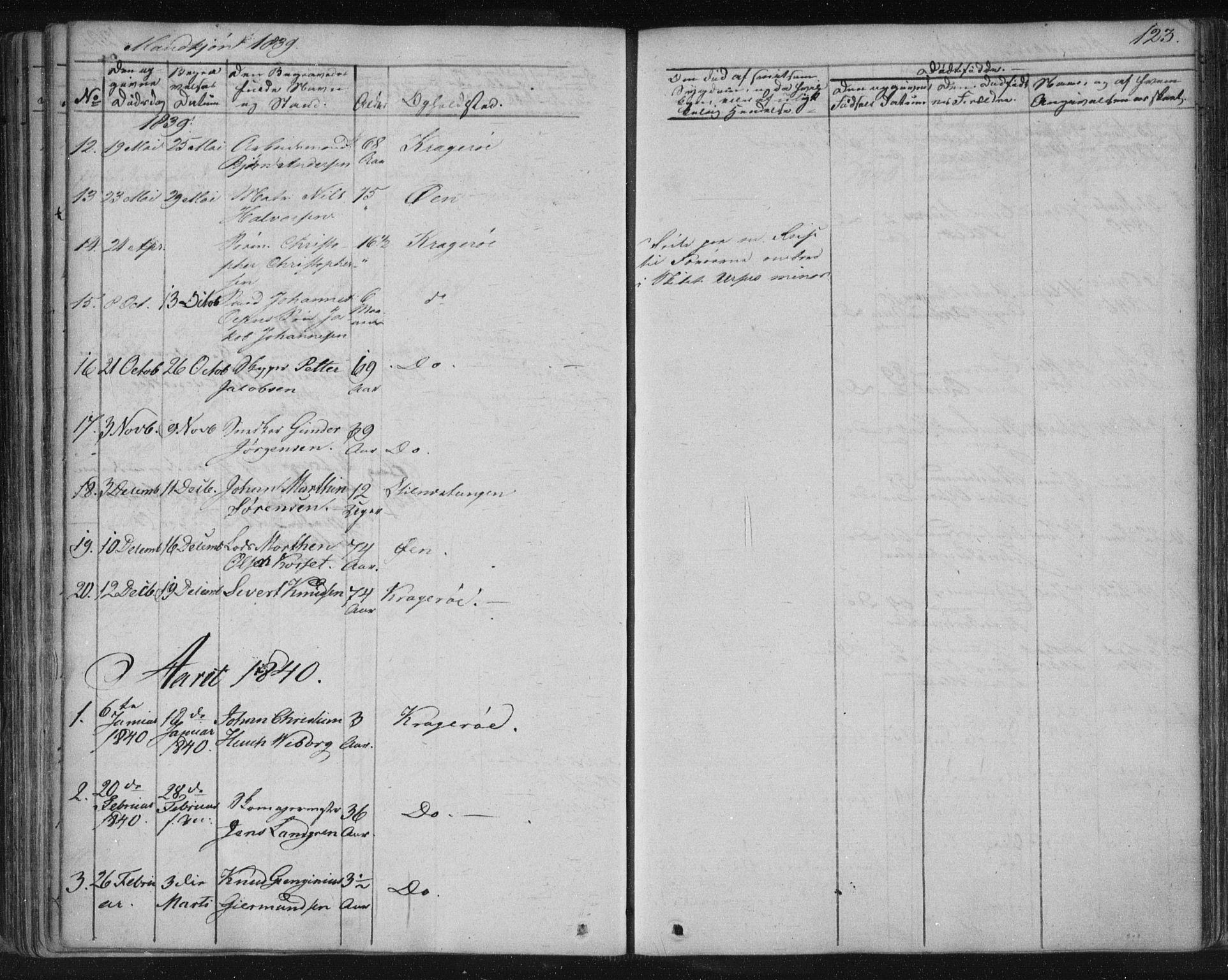 SAKO, Kragerø kirkebøker, F/Fa/L0005: Ministerialbok nr. 5, 1832-1847, s. 123