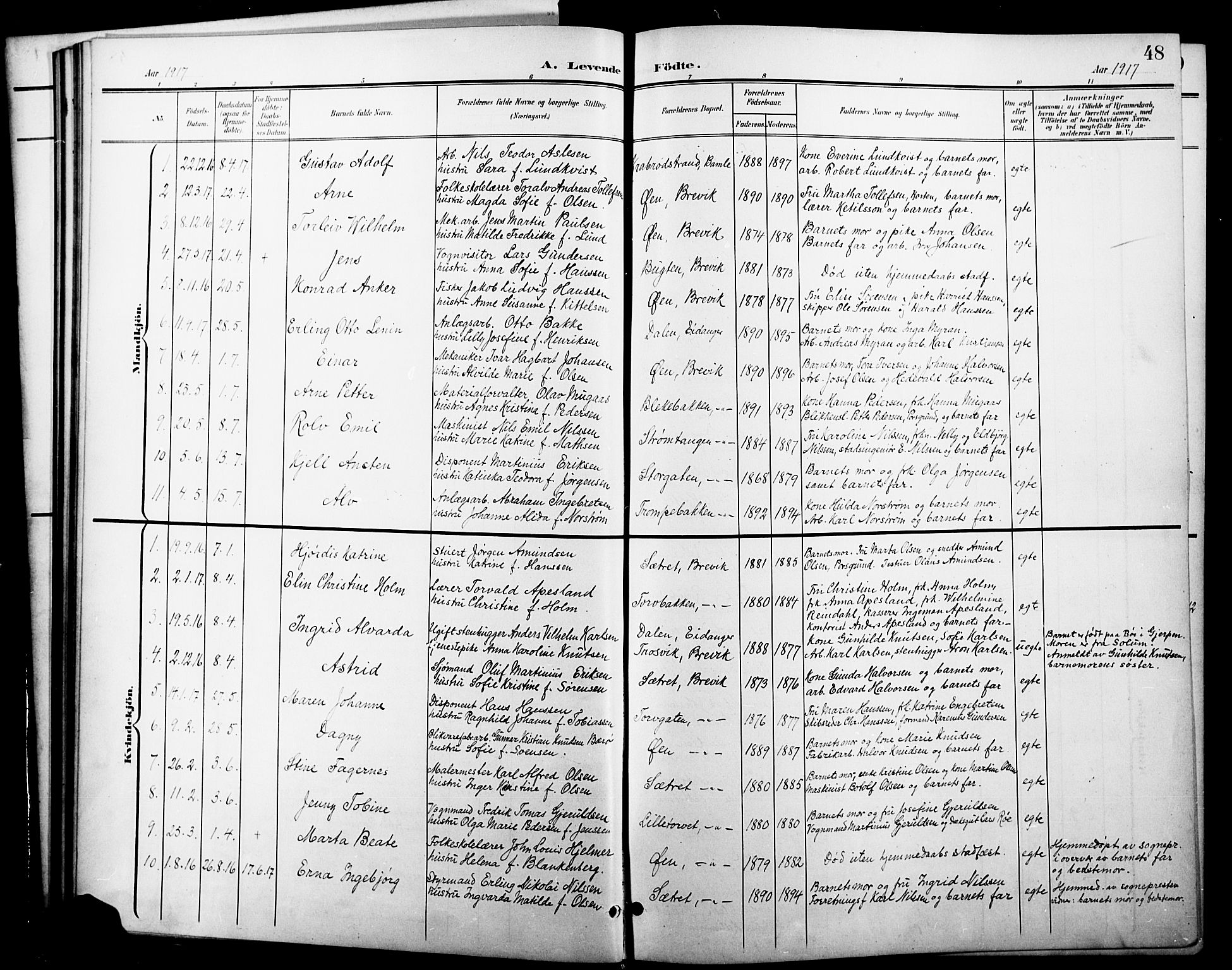 SAKO, Brevik kirkebøker, G/Ga/L0005: Klokkerbok nr. 5, 1901-1924, s. 48