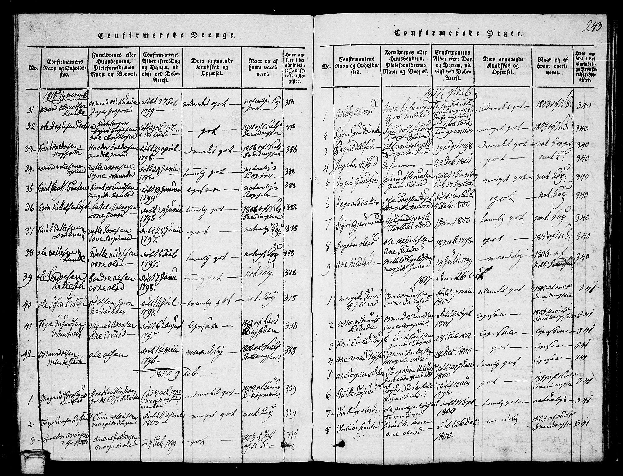 SAKO, Vinje kirkebøker, G/Ga/L0001: Klokkerbok nr. I 1, 1814-1843, s. 243