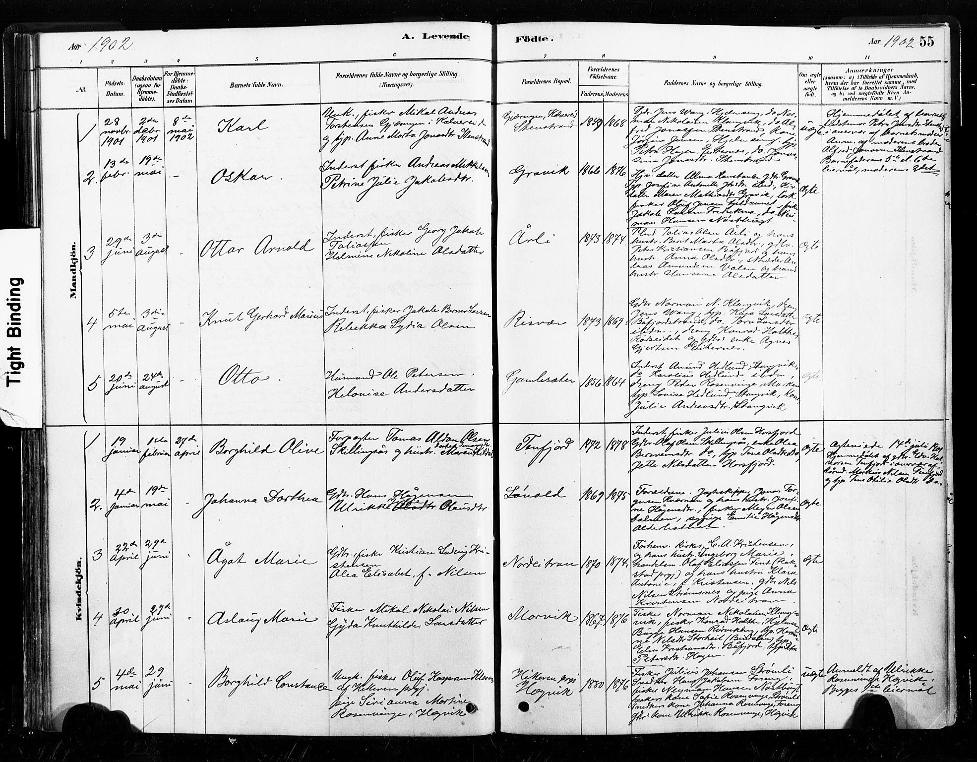 SAT, Ministerialprotokoller, klokkerbøker og fødselsregistre - Nord-Trøndelag, 789/L0705: Ministerialbok nr. 789A01, 1878-1910, s. 55