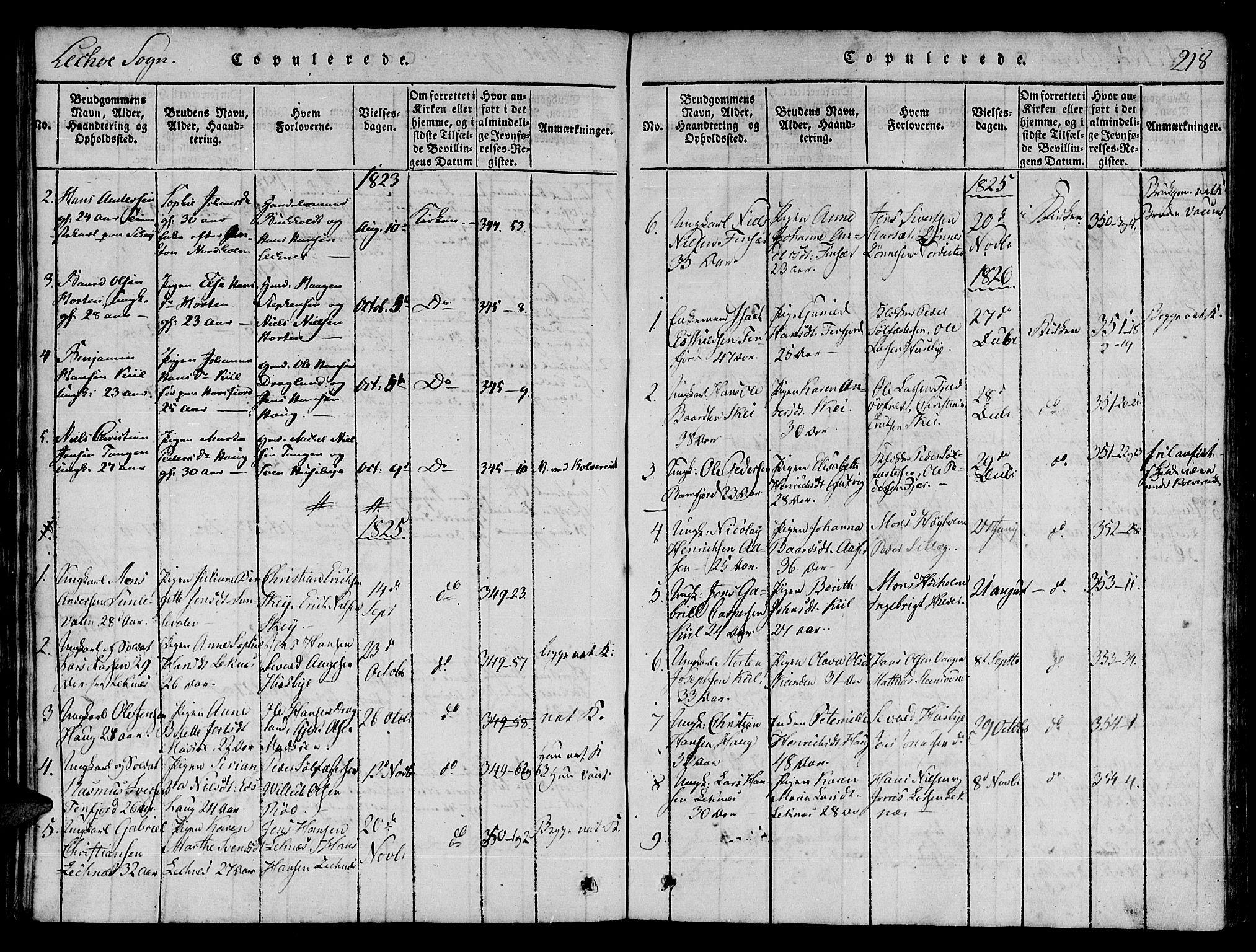 SAT, Ministerialprotokoller, klokkerbøker og fødselsregistre - Nord-Trøndelag, 780/L0636: Ministerialbok nr. 780A03 /2, 1815-1829, s. 218