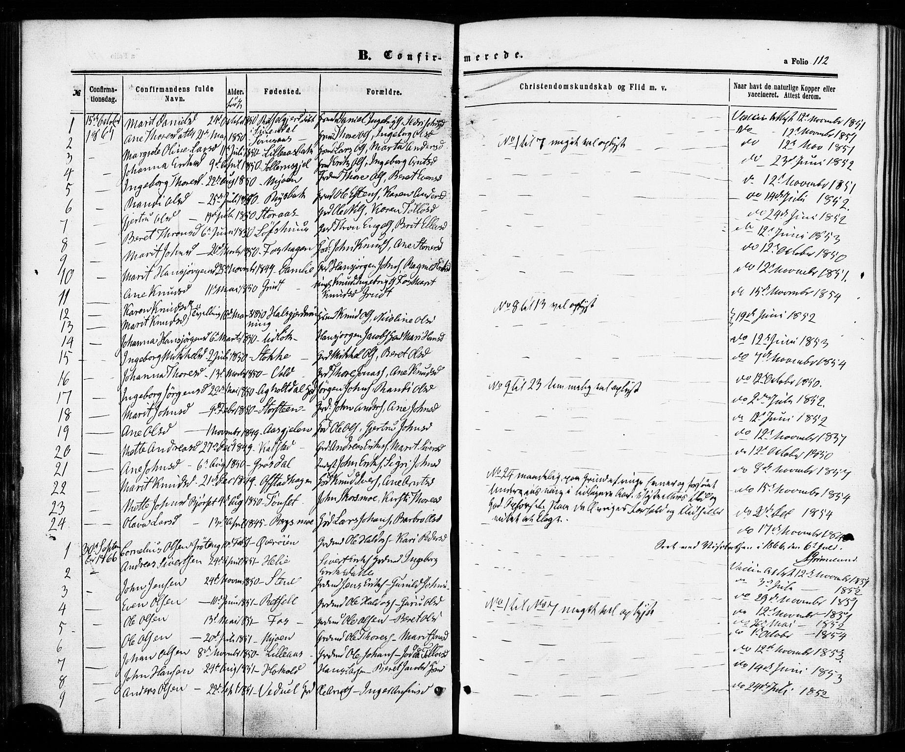 SAT, Ministerialprotokoller, klokkerbøker og fødselsregistre - Sør-Trøndelag, 672/L0856: Ministerialbok nr. 672A08, 1861-1881, s. 112