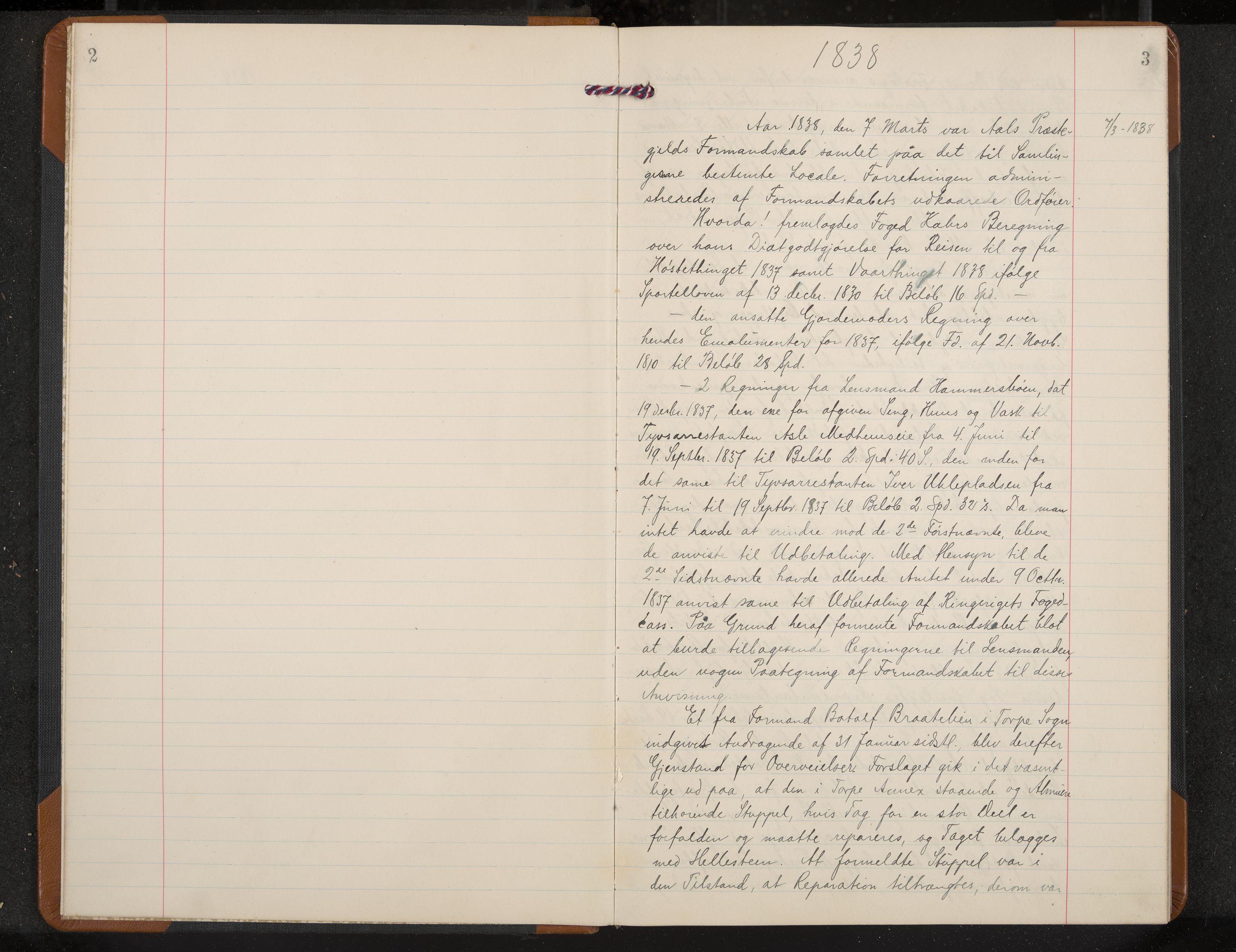 IKAK, Ål formannskap, A/Aa/L0001: Utskrift av møtebok, 1838-1845, s. 2-3