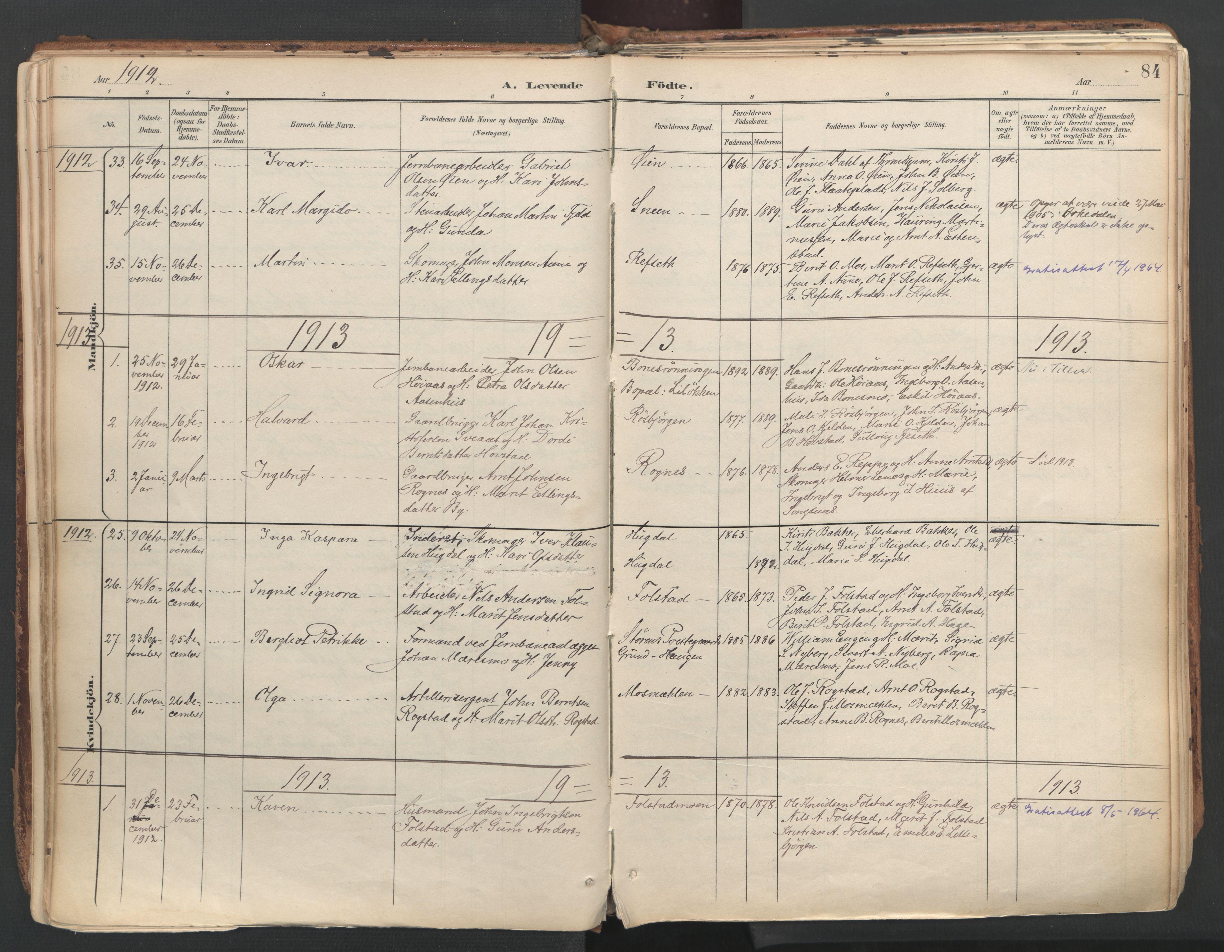 SAT, Ministerialprotokoller, klokkerbøker og fødselsregistre - Sør-Trøndelag, 687/L1004: Ministerialbok nr. 687A10, 1891-1923, s. 84