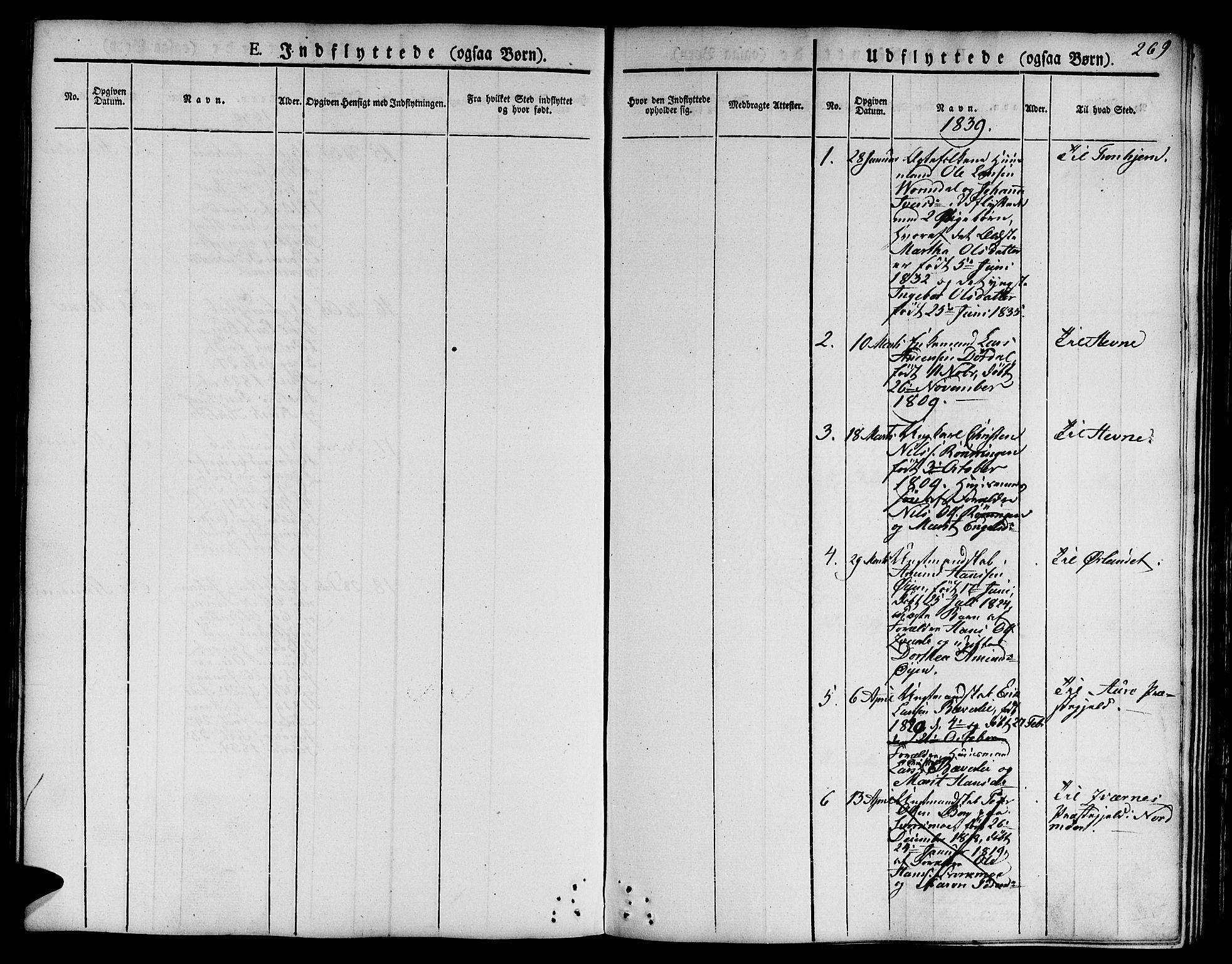 SAT, Ministerialprotokoller, klokkerbøker og fødselsregistre - Sør-Trøndelag, 668/L0804: Ministerialbok nr. 668A04, 1826-1839, s. 269