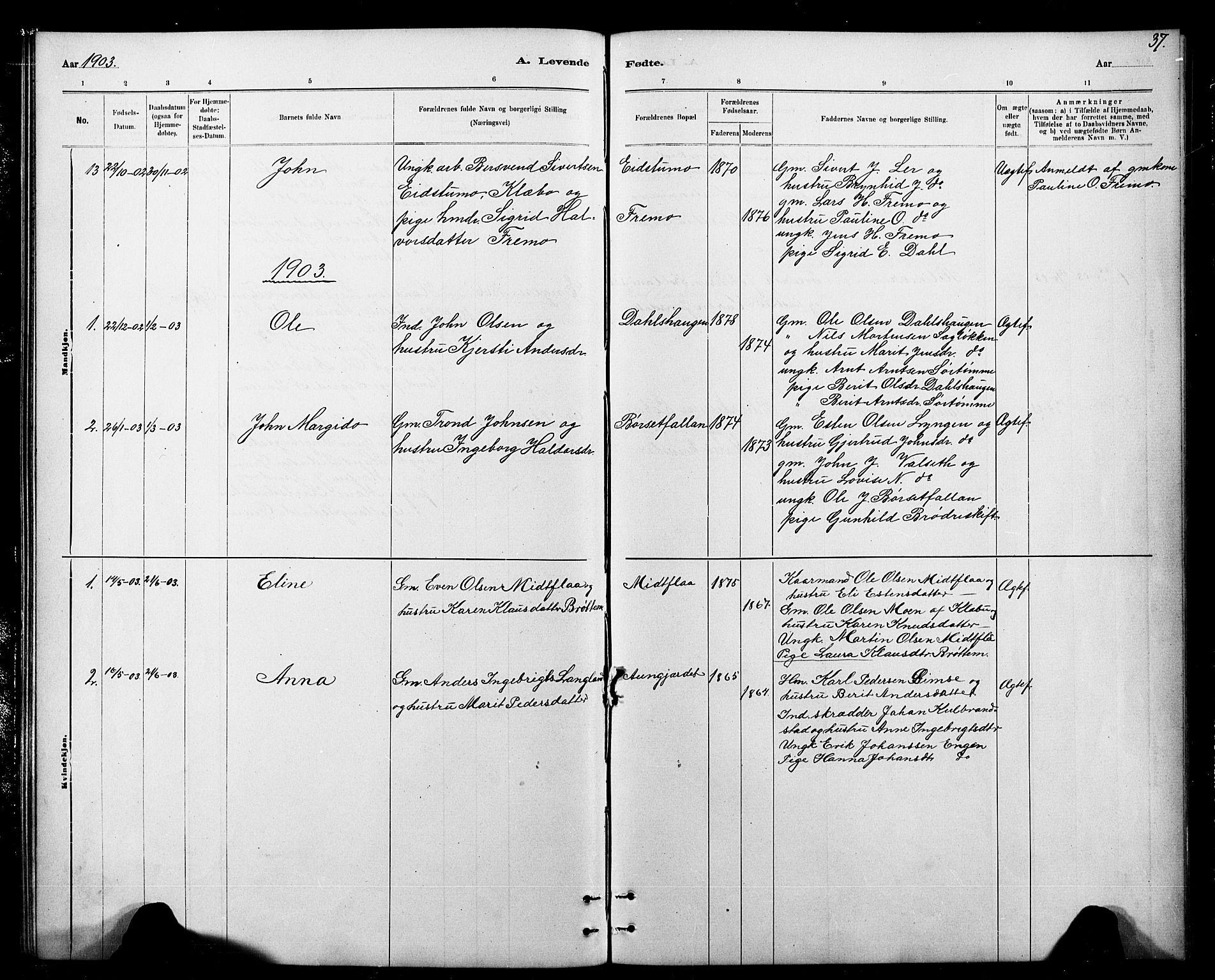 SAT, Ministerialprotokoller, klokkerbøker og fødselsregistre - Sør-Trøndelag, 693/L1123: Klokkerbok nr. 693C04, 1887-1910, s. 37