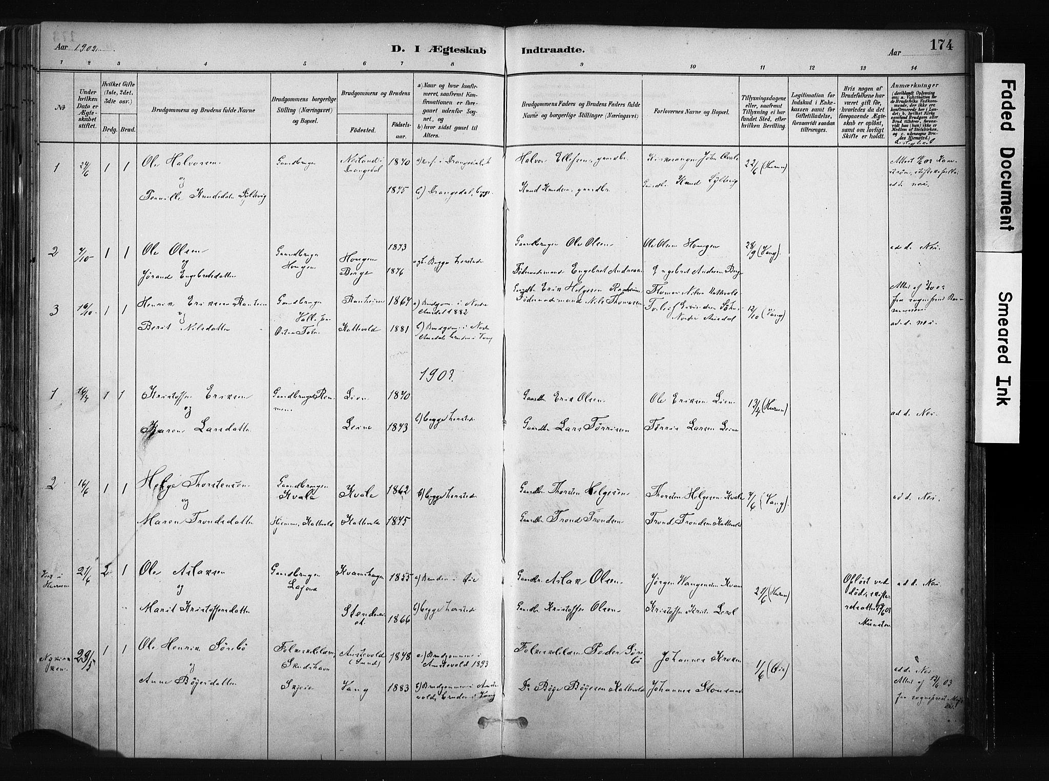 SAH, Vang prestekontor, Valdres, Ministerialbok nr. 8, 1882-1910, s. 174