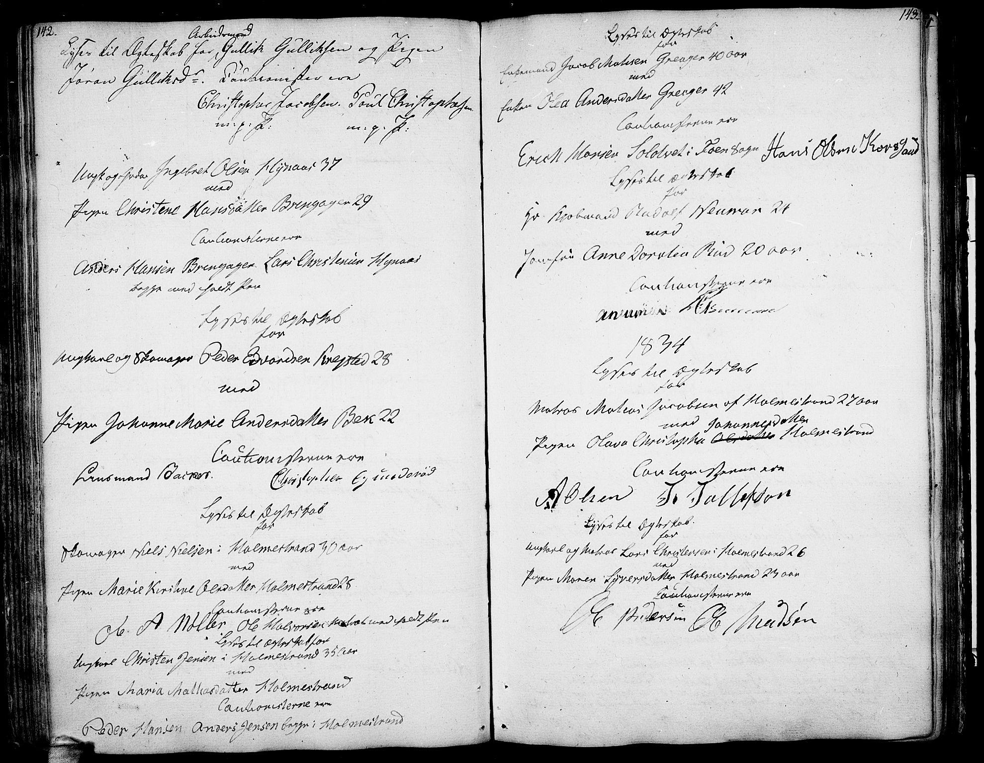 SAKO, Botne kirkebøker, F/Fa/L0003: Ministerialbok nr. I 3 /1, 1792-1844, s. 142-143