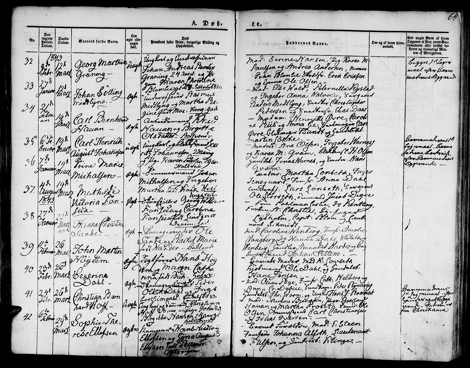 SAT, Ministerialprotokoller, klokkerbøker og fødselsregistre - Sør-Trøndelag, 601/L0048: Ministerialbok nr. 601A16, 1840-1847, s. 64