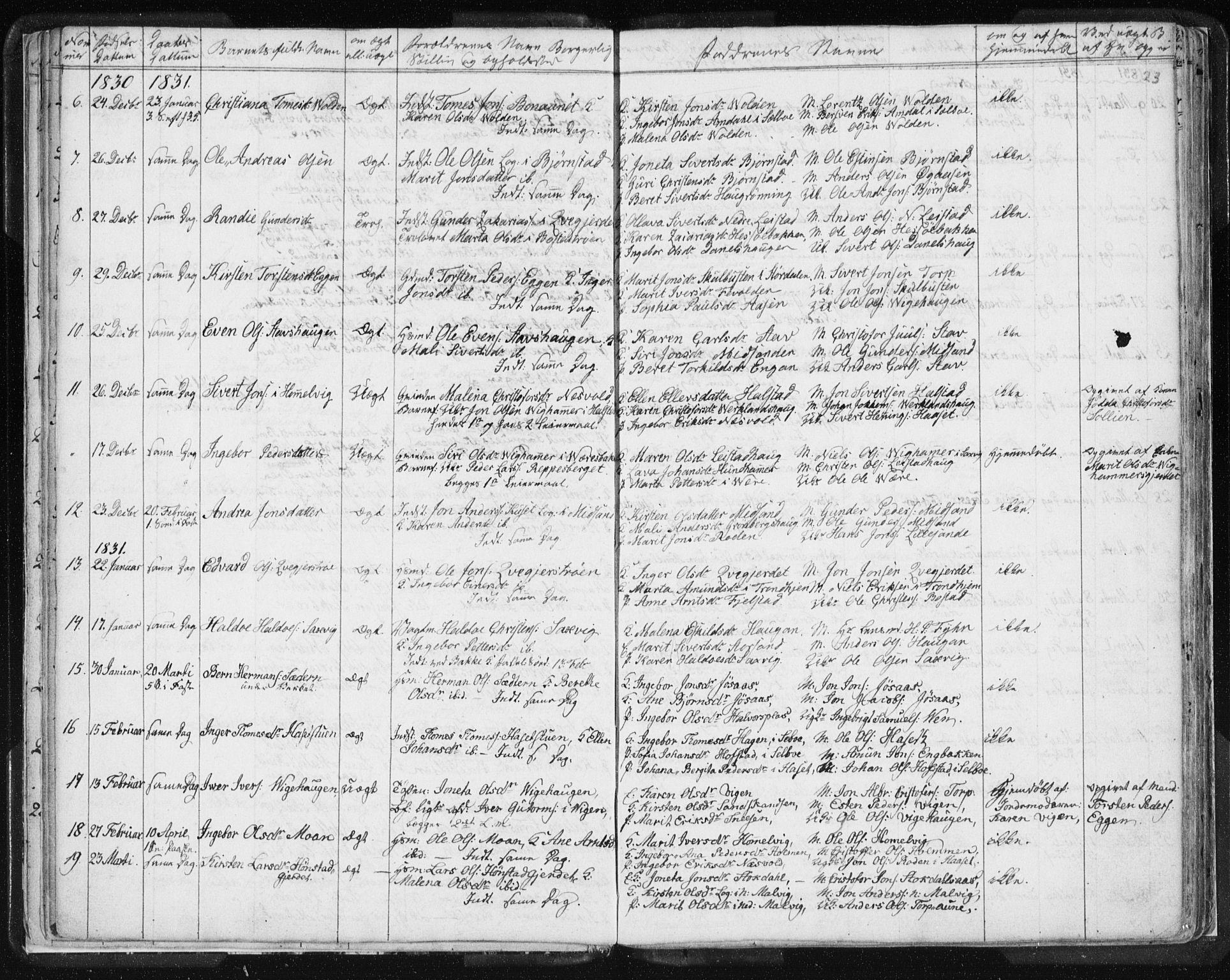 SAT, Ministerialprotokoller, klokkerbøker og fødselsregistre - Sør-Trøndelag, 616/L0404: Ministerialbok nr. 616A01, 1823-1831, s. 23
