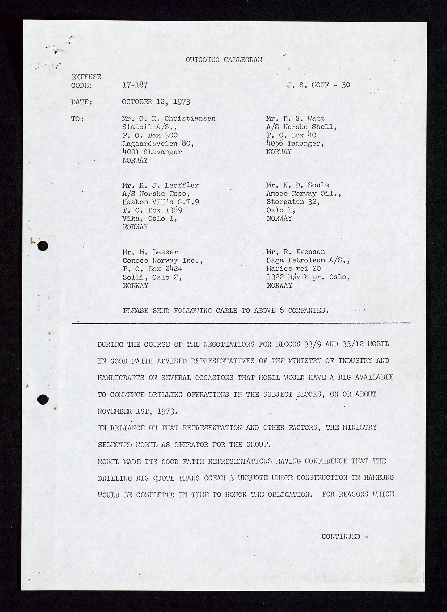 SAST, Pa 1578 - Mobil Exploration Norway Incorporated, D/Da/L0116: S.E. Smith - Sak og korrespondanse, 1973-1976, s. 161