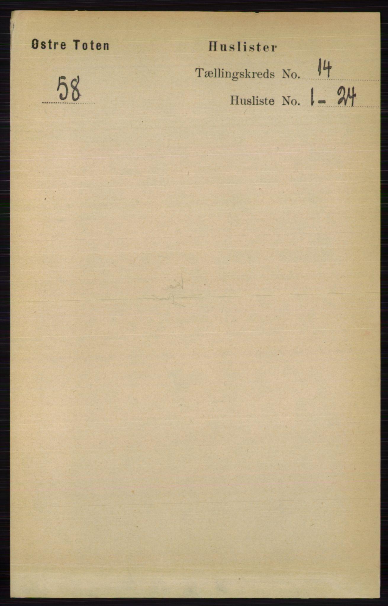 RA, Folketelling 1891 for 0528 Østre Toten herred, 1891, s. 9037