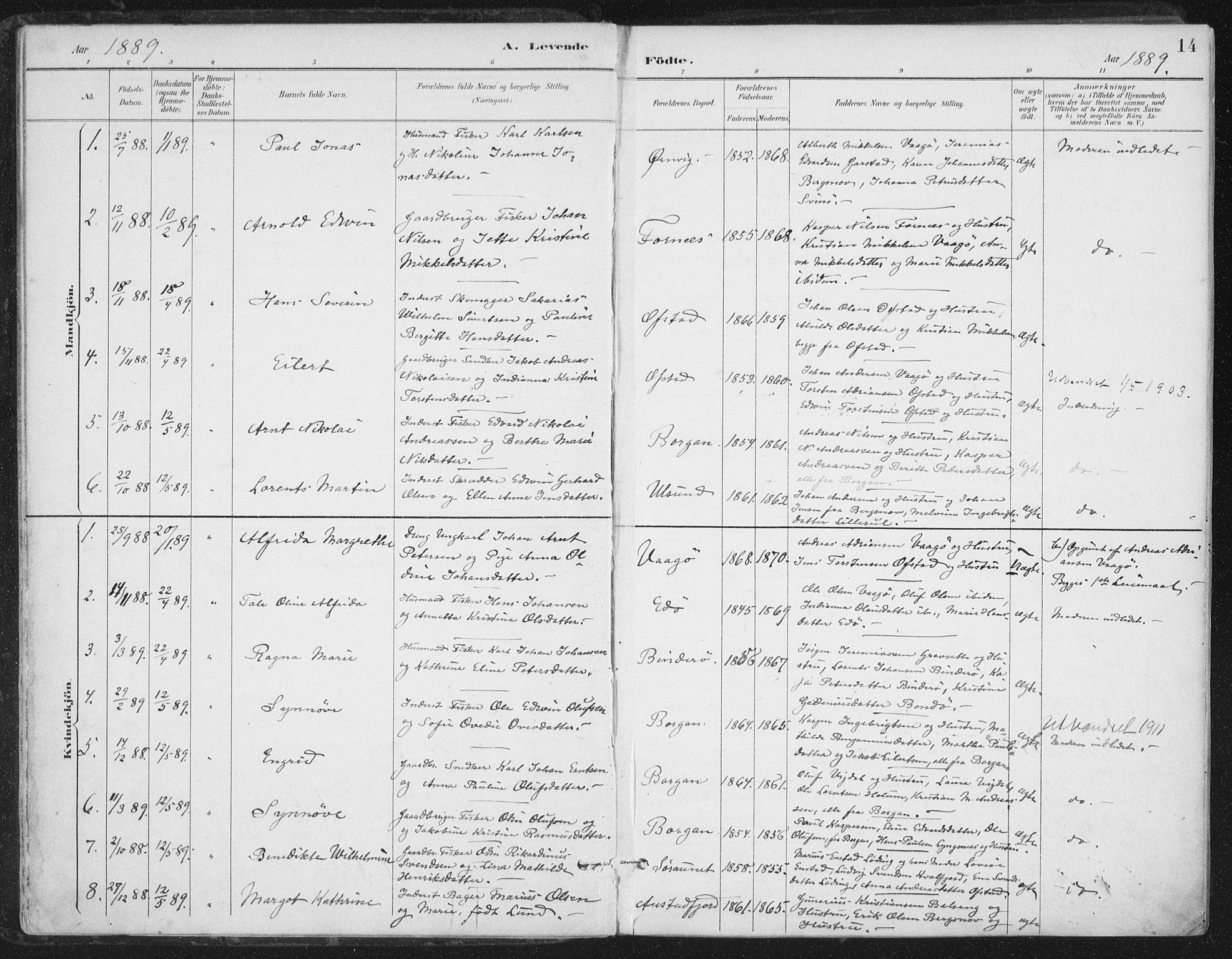 SAT, Ministerialprotokoller, klokkerbøker og fødselsregistre - Nord-Trøndelag, 786/L0687: Ministerialbok nr. 786A03, 1888-1898, s. 14