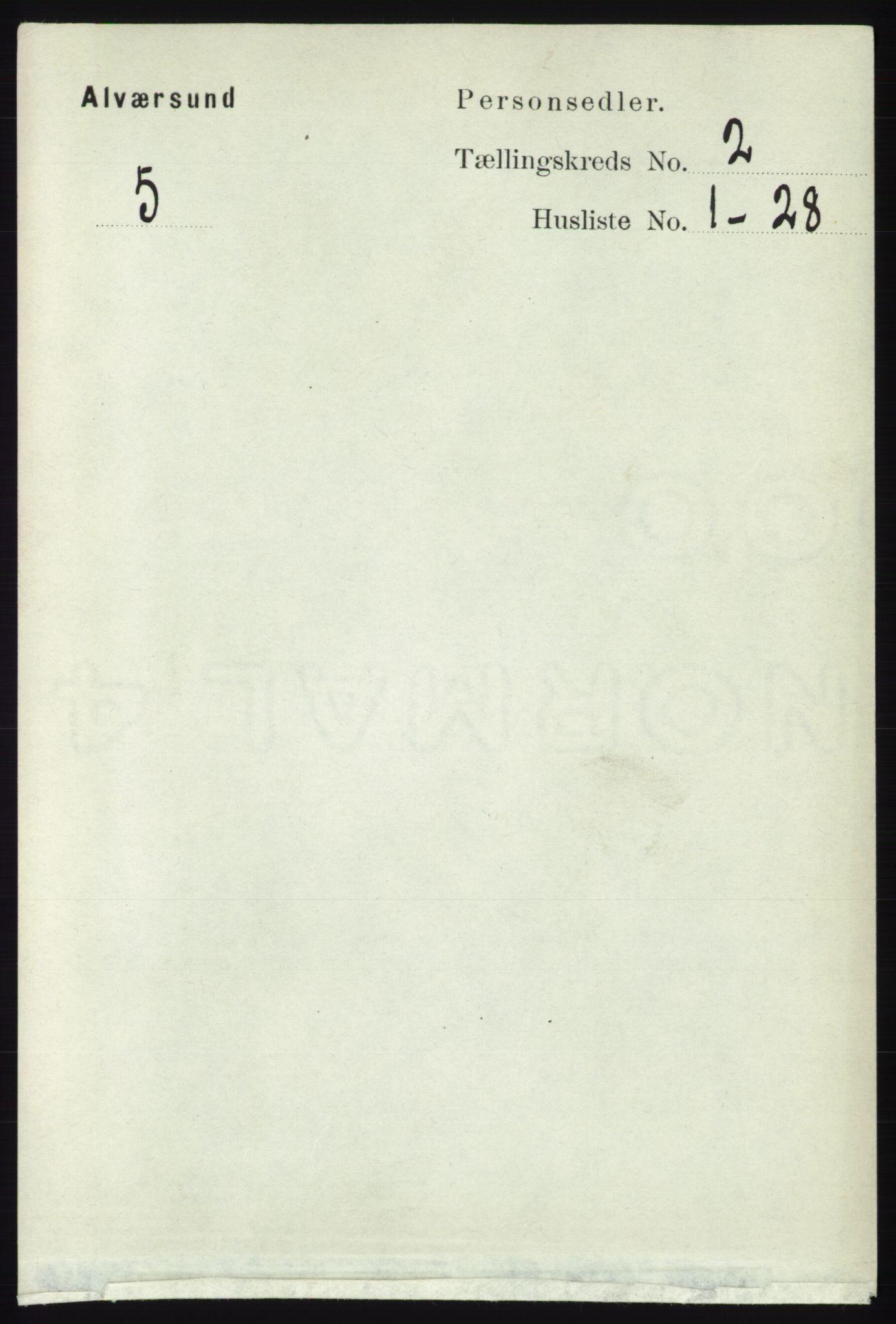 RA, Folketelling 1891 for 1257 Alversund herred, 1891, s. 460