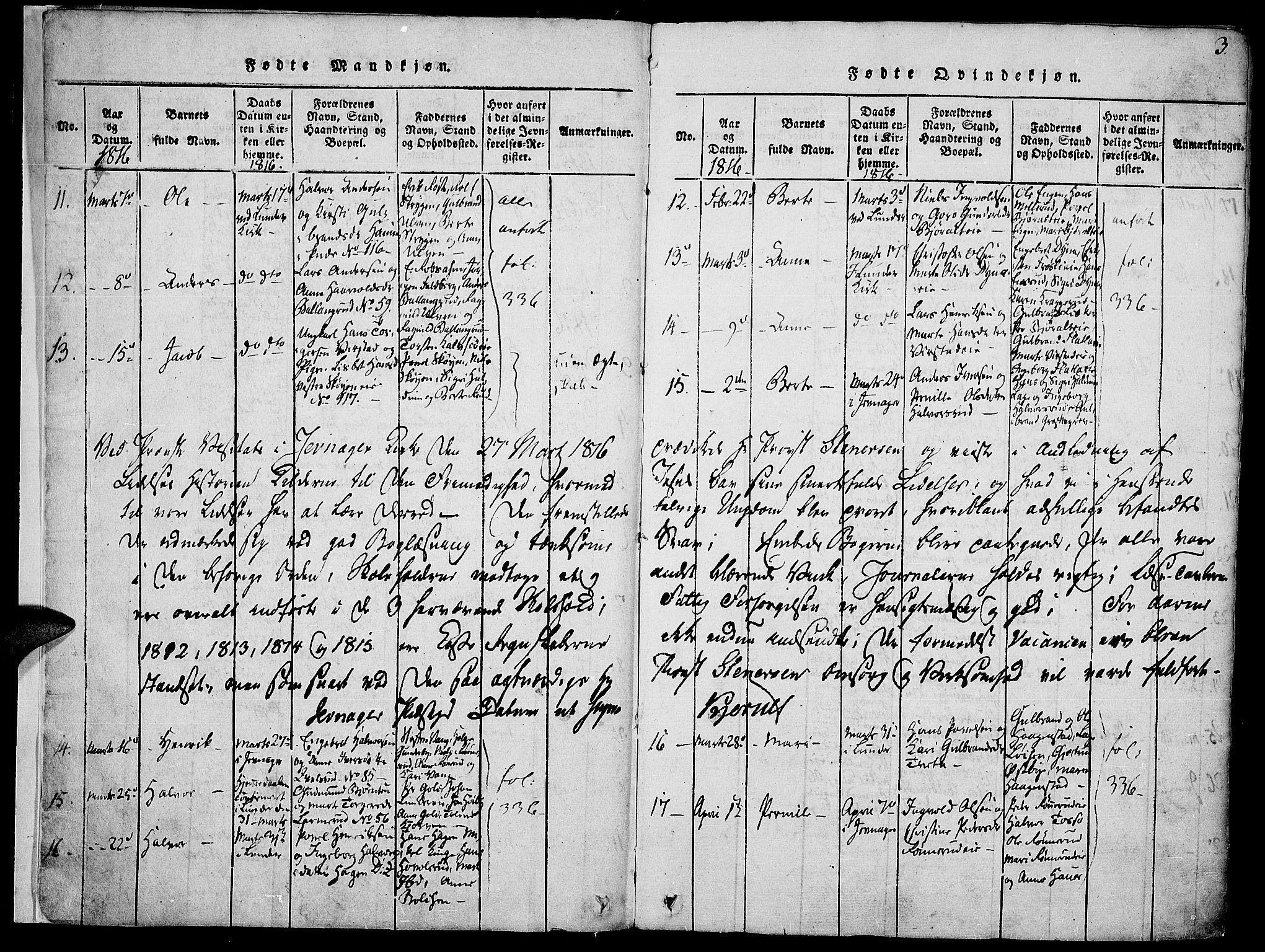 SAH, Jevnaker prestekontor, Ministerialbok nr. 5, 1815-1837, s. 3