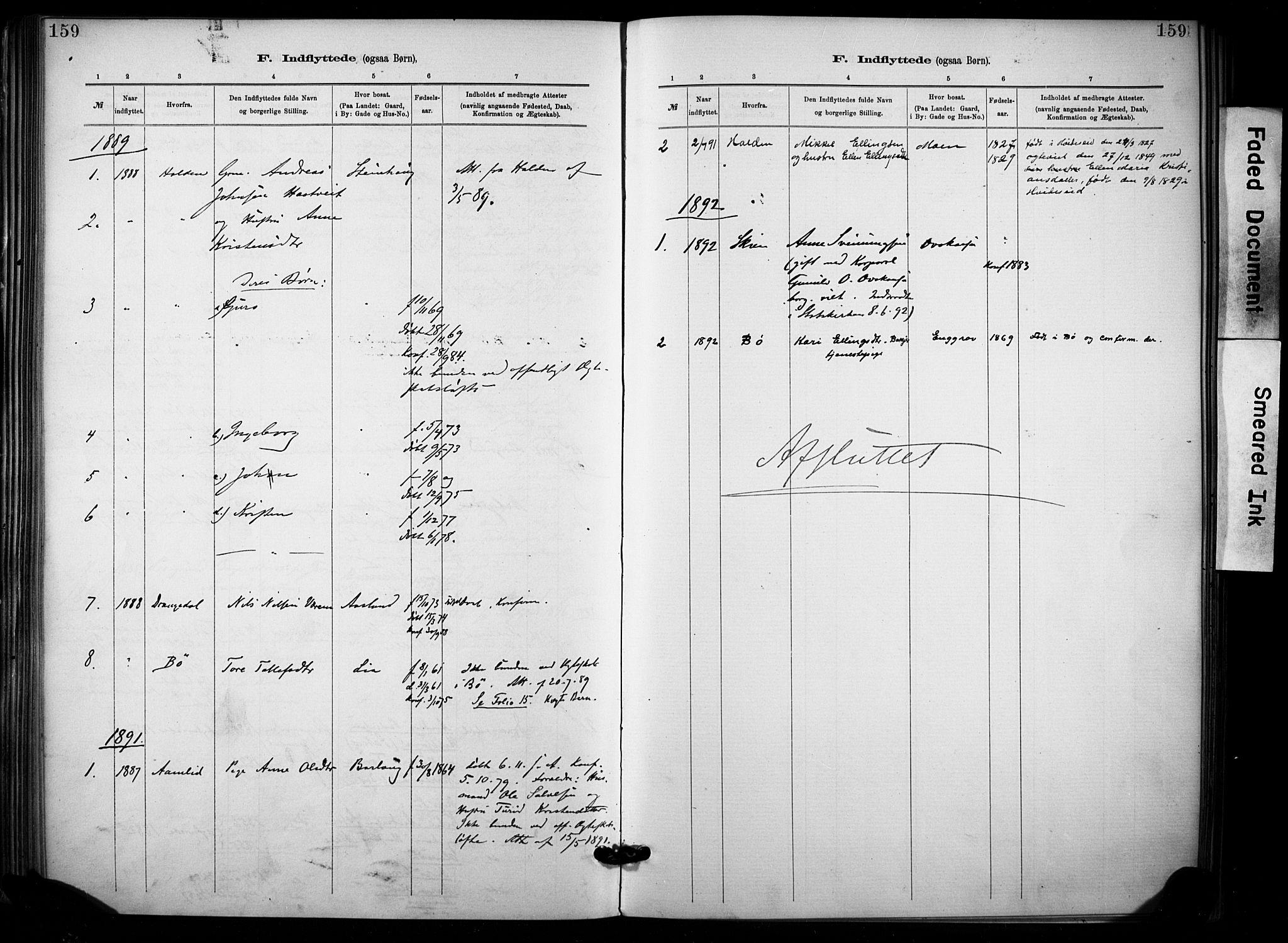 SAKO, Lunde kirkebøker, F/Fa/L0002: Ministerialbok nr. I 2, 1884-1892, s. 159