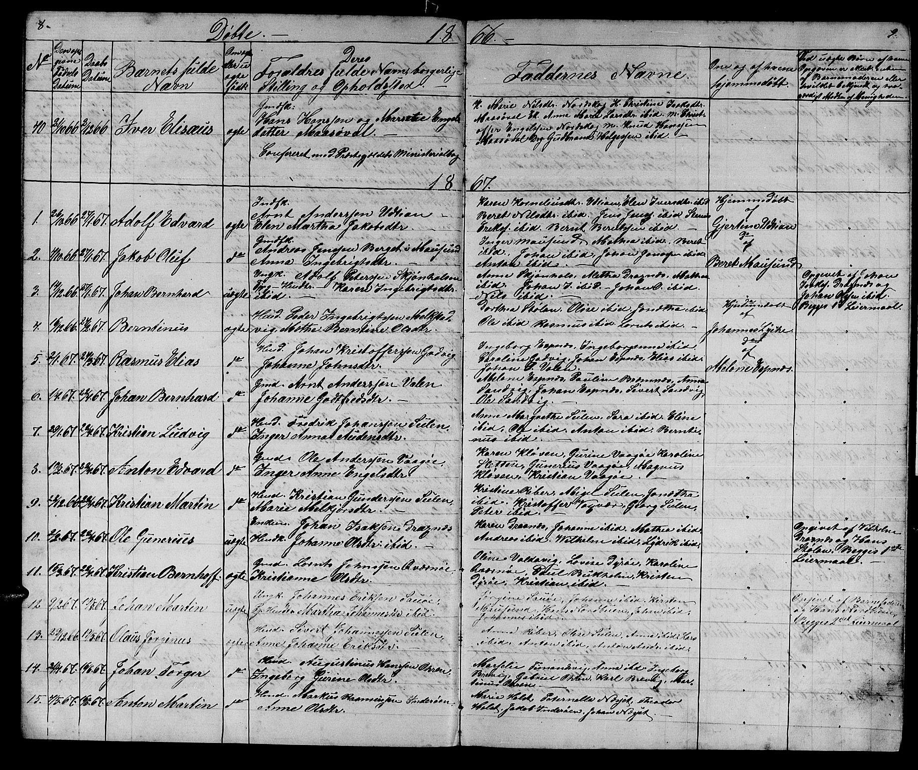 SAT, Ministerialprotokoller, klokkerbøker og fødselsregistre - Sør-Trøndelag, 640/L0583: Klokkerbok nr. 640C01, 1866-1877, s. 8-9