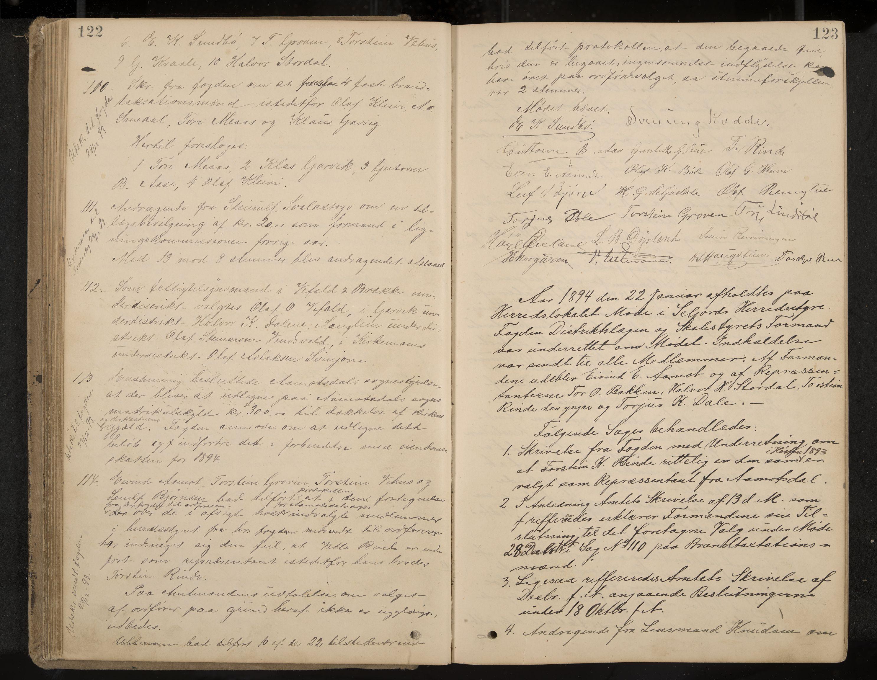 IKAK, Seljord formannskap og sentraladministrasjon, A/Aa/L0003: Møtebok med register, 1891-1905, s. 122-123