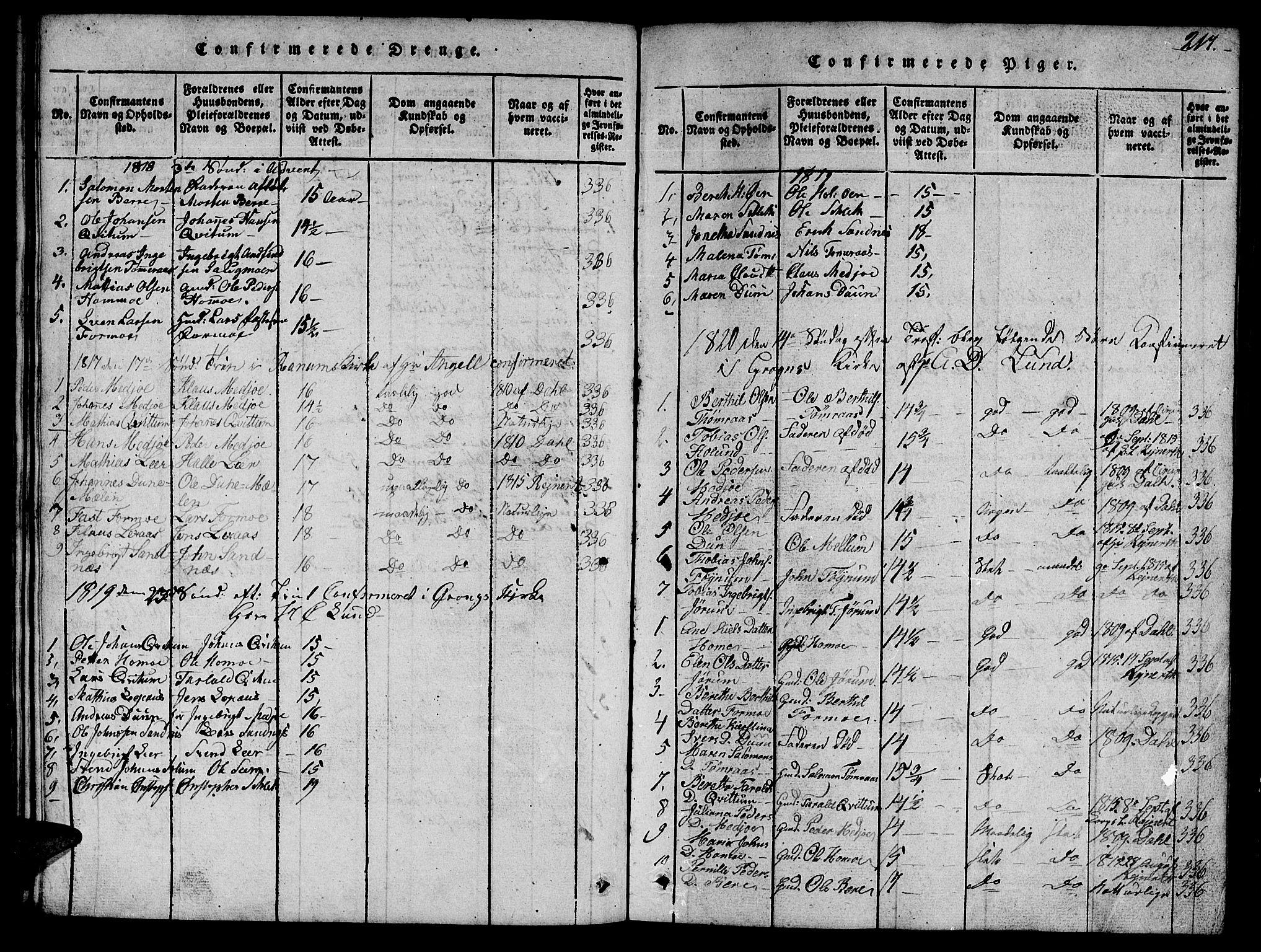 SAT, Ministerialprotokoller, klokkerbøker og fødselsregistre - Nord-Trøndelag, 758/L0521: Klokkerbok nr. 758C01, 1816-1825, s. 217