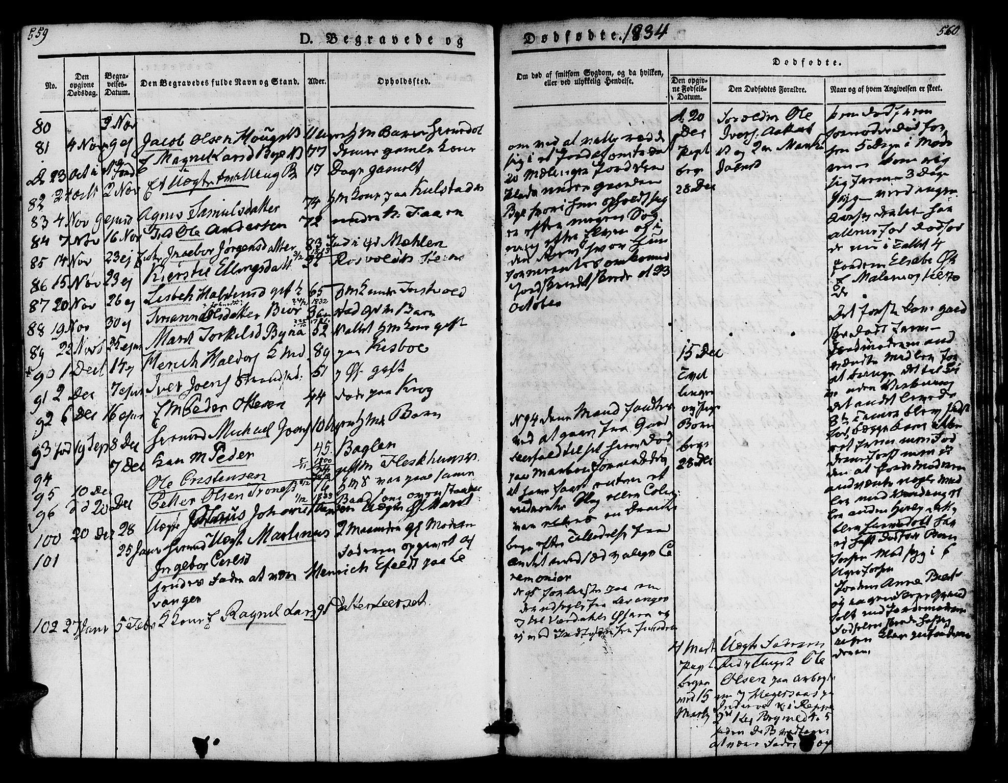 SAT, Ministerialprotokoller, klokkerbøker og fødselsregistre - Nord-Trøndelag, 723/L0238: Ministerialbok nr. 723A07, 1831-1840, s. 559-560