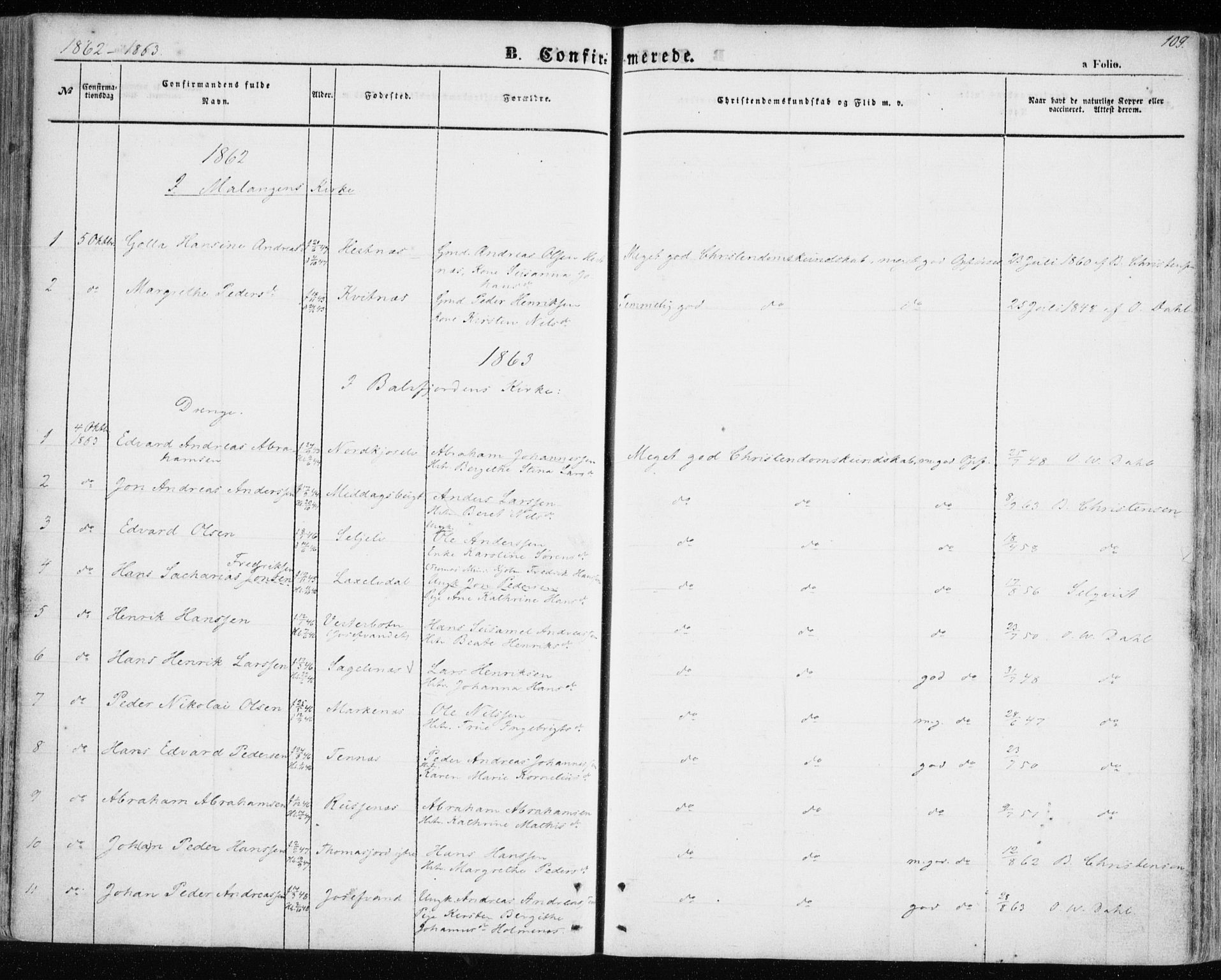 SATØ, Balsfjord sokneprestembete, Ministerialbok nr. 3, 1856-1870, s. 109