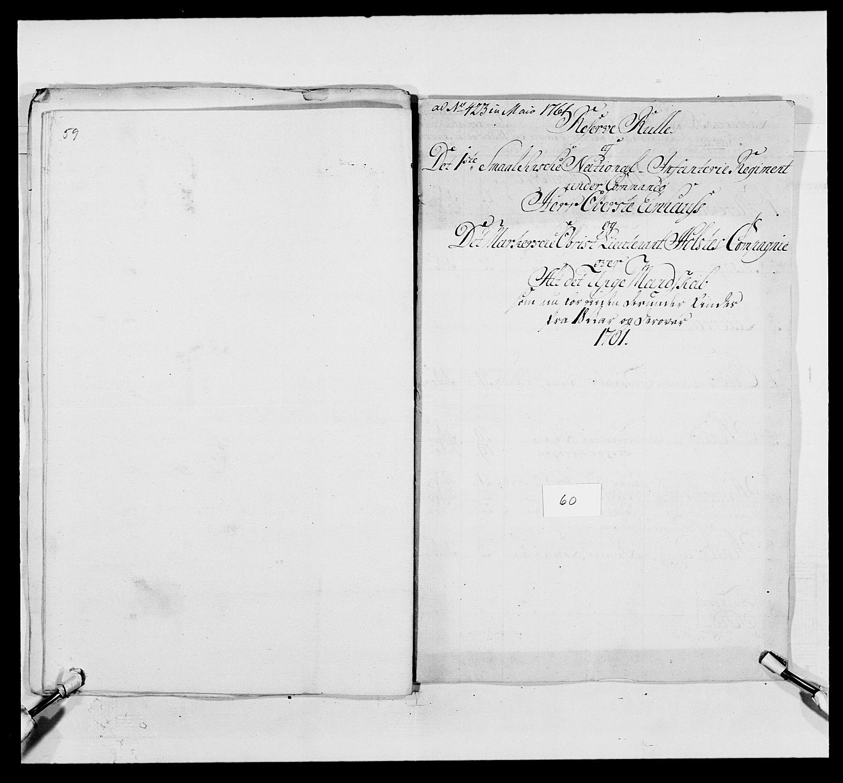 RA, Kommanderende general (KG I) med Det norske krigsdirektorium, E/Ea/L0495: 1. Smålenske regiment, 1732-1763, s. 760