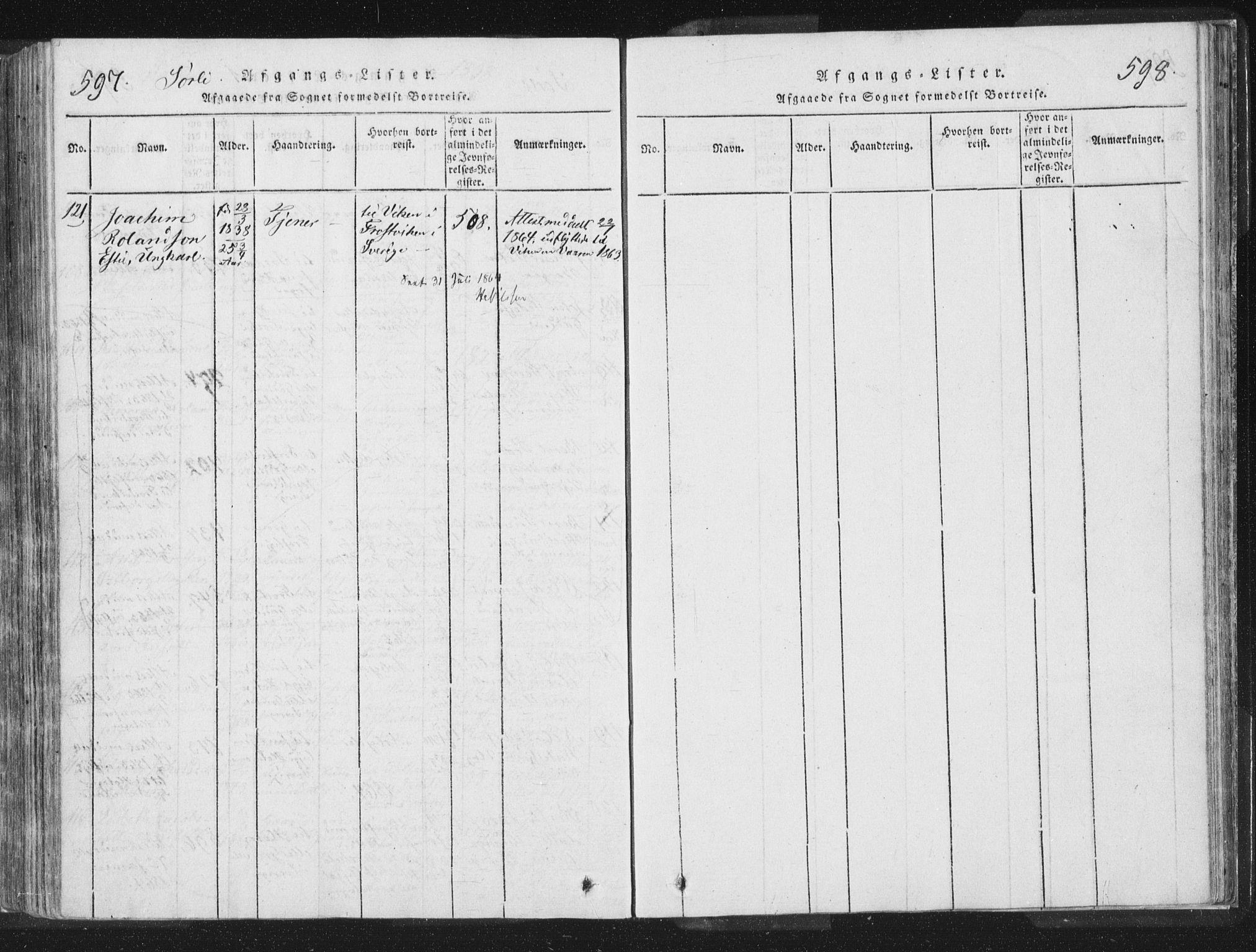 SAT, Ministerialprotokoller, klokkerbøker og fødselsregistre - Nord-Trøndelag, 755/L0491: Ministerialbok nr. 755A01 /2, 1817-1864, s. 597-598