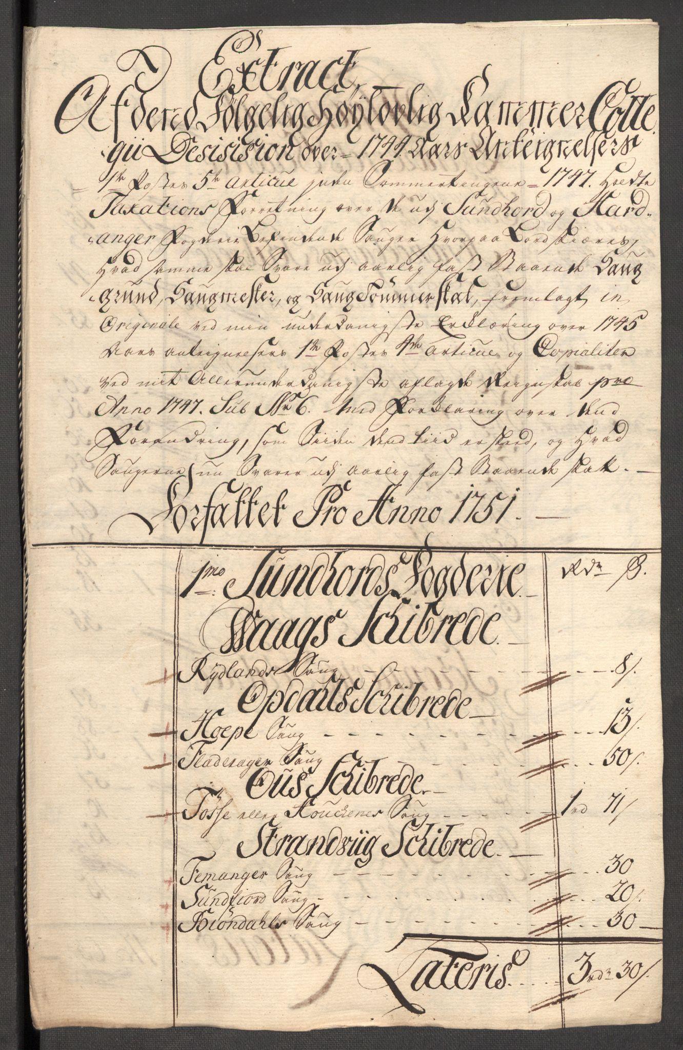 RA, Rentekammeret inntil 1814, Reviderte regnskaper, Fogderegnskap, R48/L3056: Fogderegnskap Sunnhordland og Hardanger, 1751, s. 144