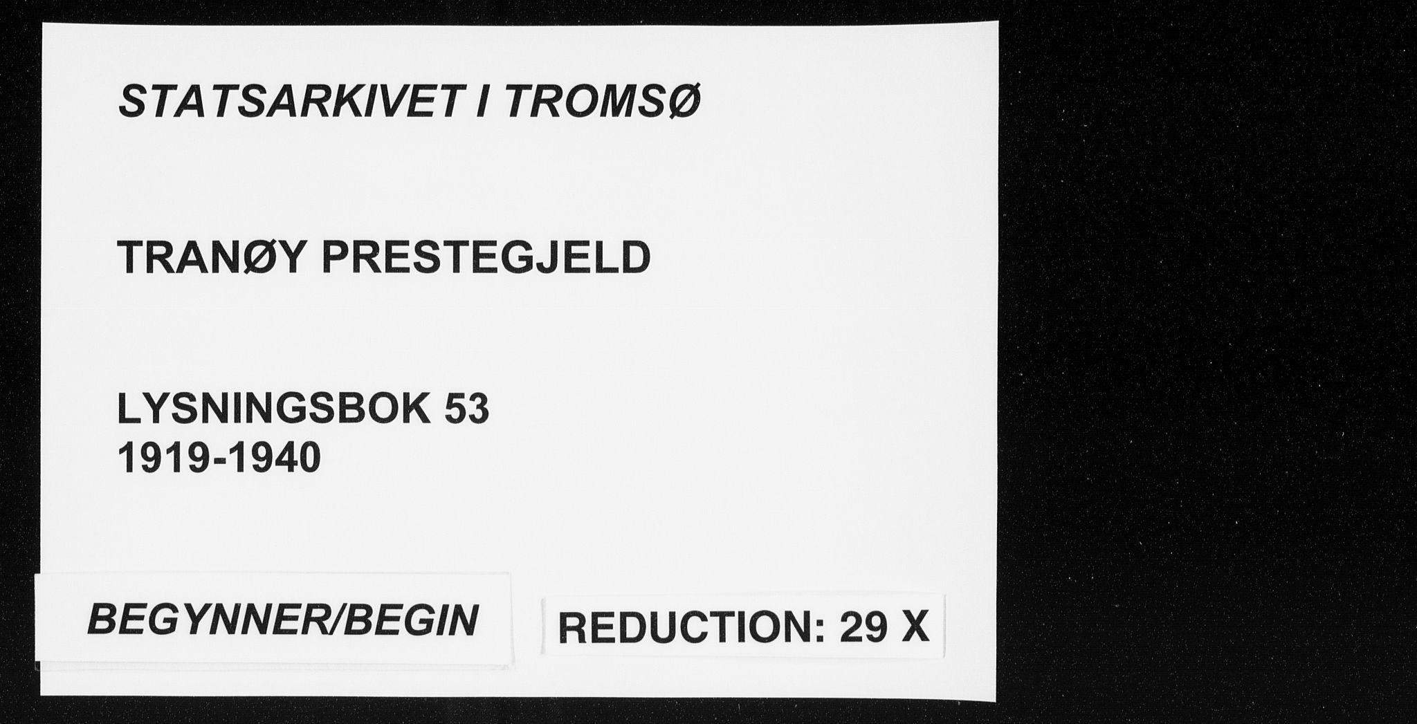 SATØ, Tranøy sokneprestkontor, J/Jc/L0053: Lysningsprotokoll nr. 53, 1919-1940