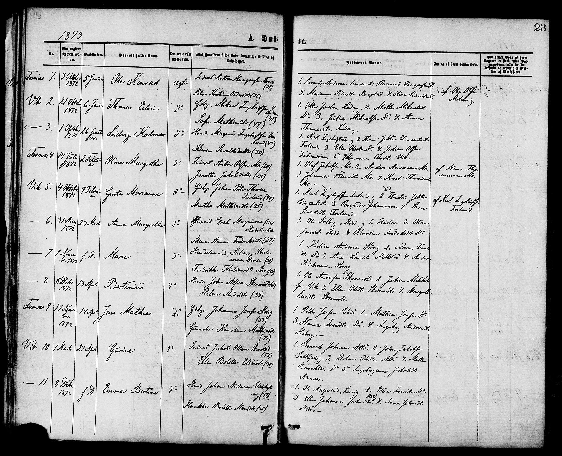 SAT, Ministerialprotokoller, klokkerbøker og fødselsregistre - Nord-Trøndelag, 773/L0616: Ministerialbok nr. 773A07, 1870-1887, s. 23