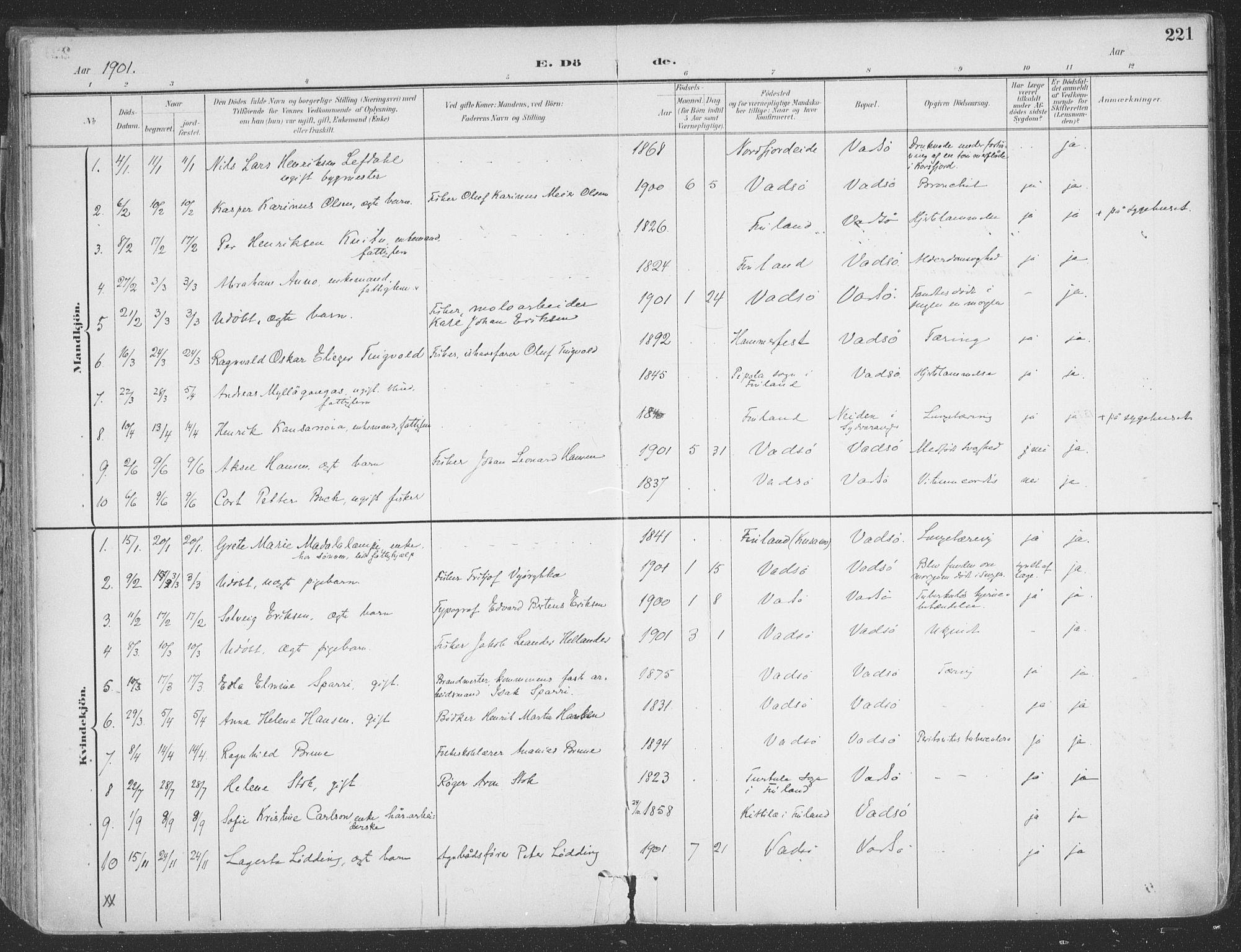 SATØ, Vadsø sokneprestkontor, H/Ha/L0007kirke: Ministerialbok nr. 7, 1896-1916, s. 221