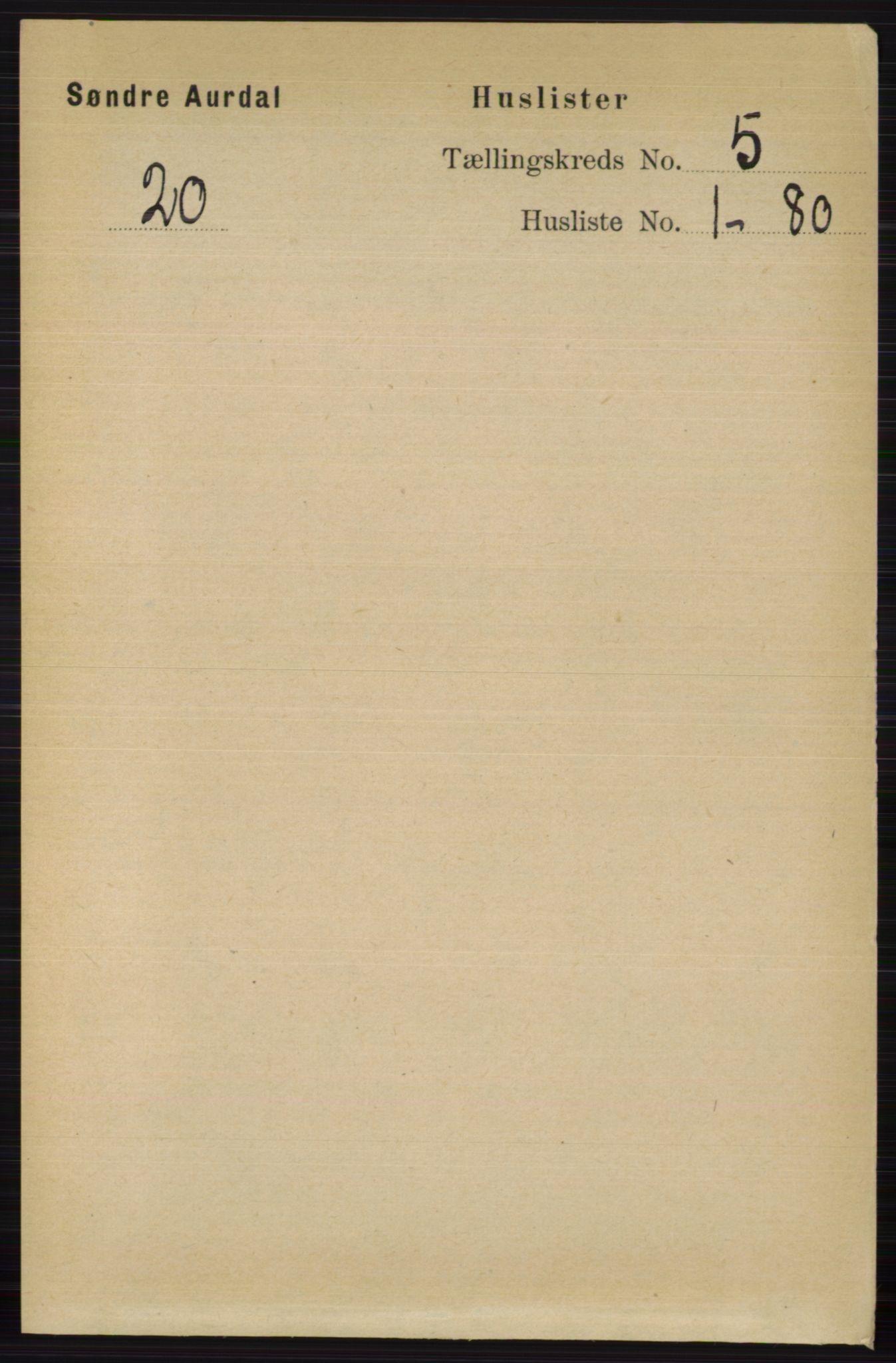 RA, Folketelling 1891 for 0540 Sør-Aurdal herred, 1891, s. 3073