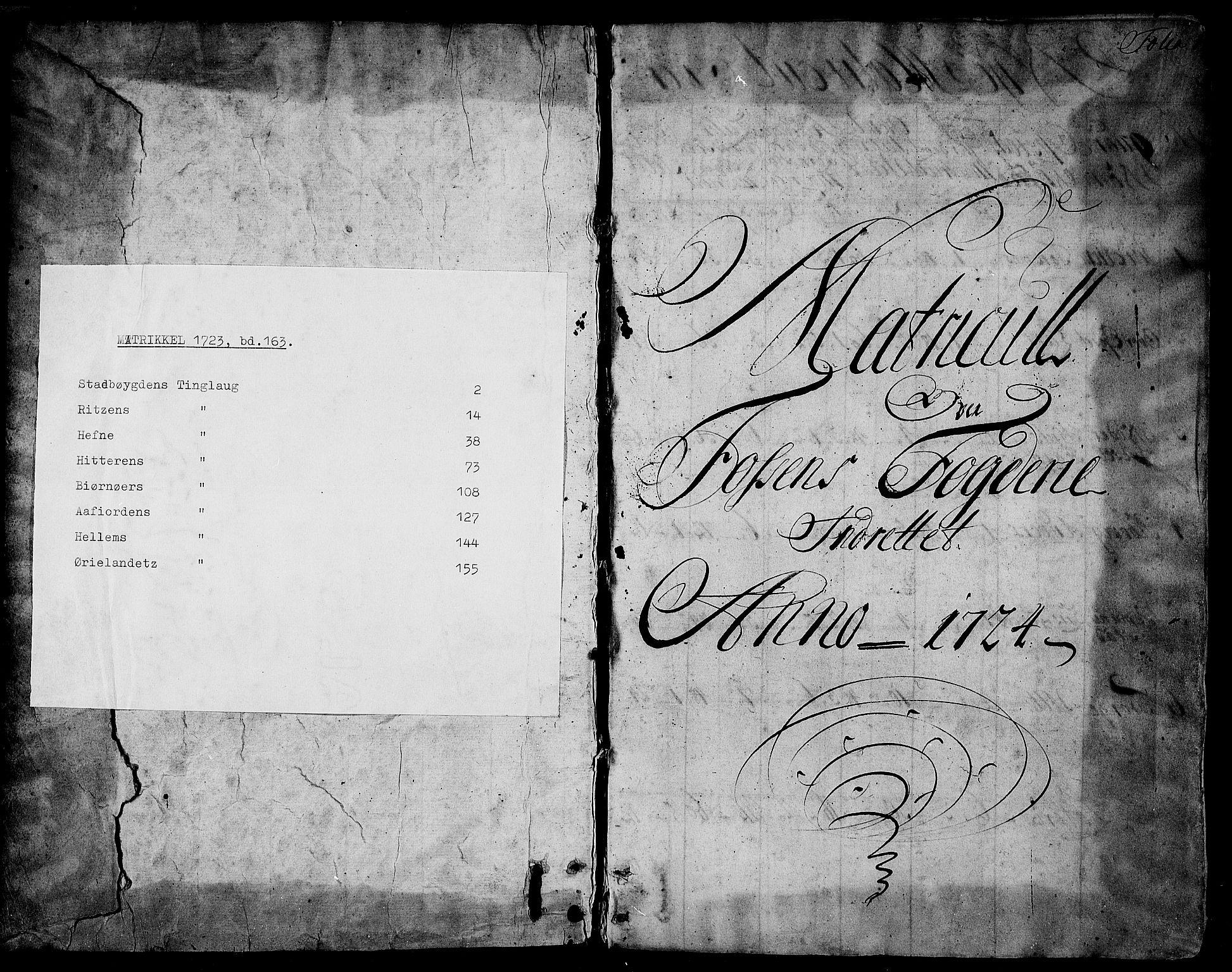 RA, Rentekammeret inntil 1814, Realistisk ordnet avdeling, N/Nb/Nbf/L0163: Fosen matrikkelprotokoll, 1723, s. upaginert