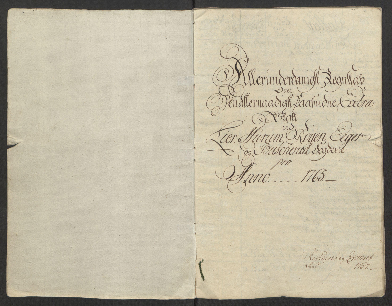 RA, Rentekammeret inntil 1814, Reviderte regnskaper, Fogderegnskap, R31/L1834: Ekstraskatten Hurum, Røyken, Eiker, Lier og Buskerud, 1765, s. 3